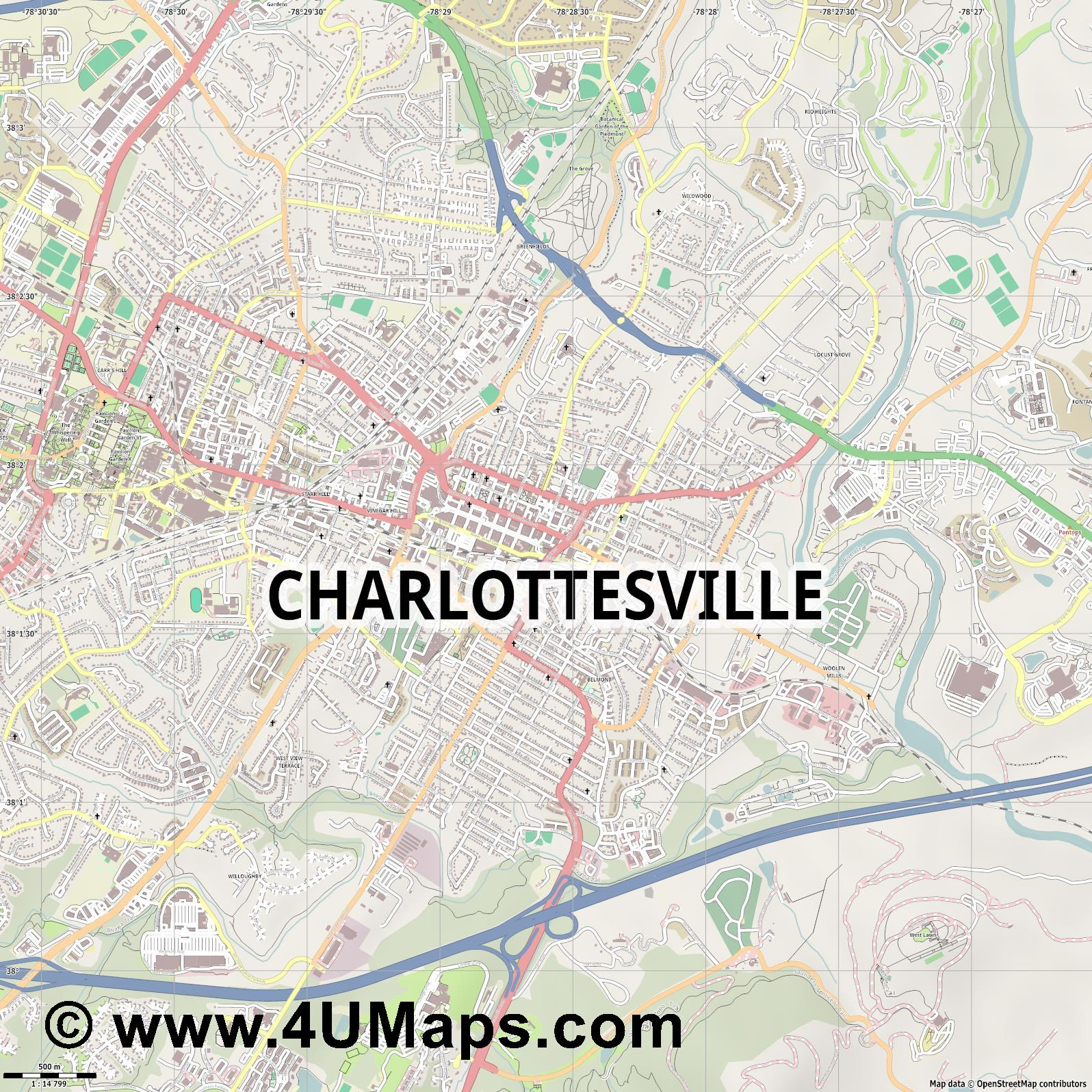 Charlottesville  jpg ultra high detail preview vector city map
