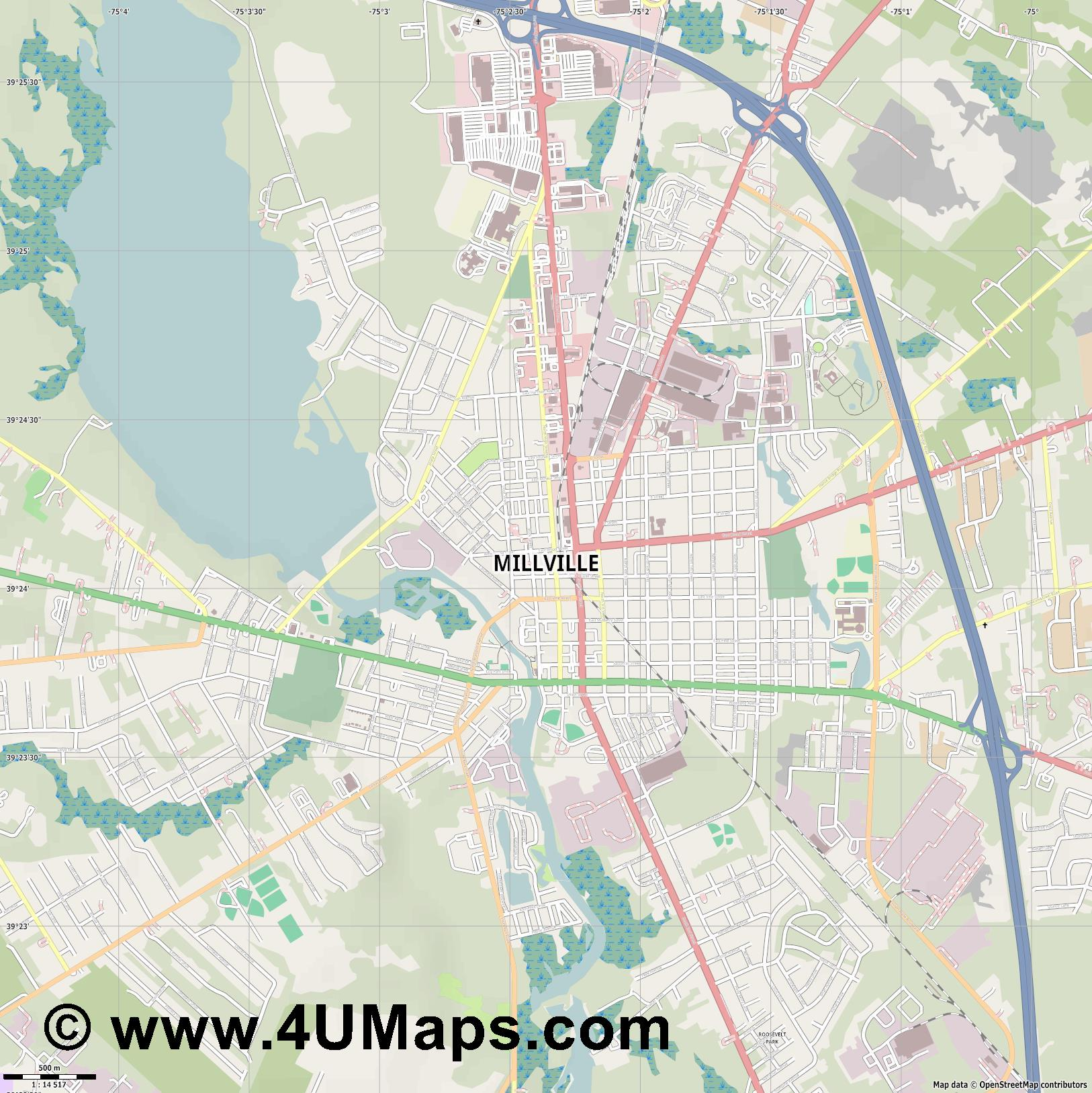 Millville  jpg ultra high detail preview vector city map