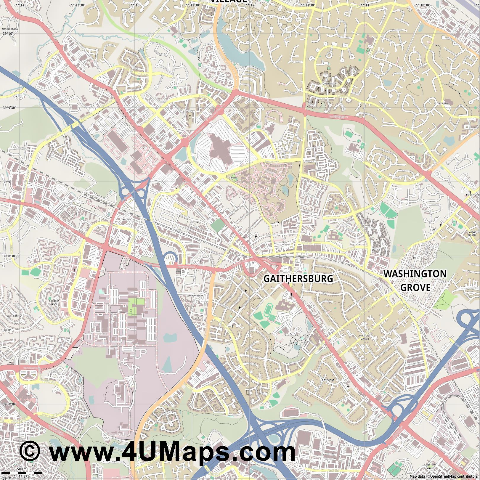Gaithersburg  jpg ultra high detail preview vector city map