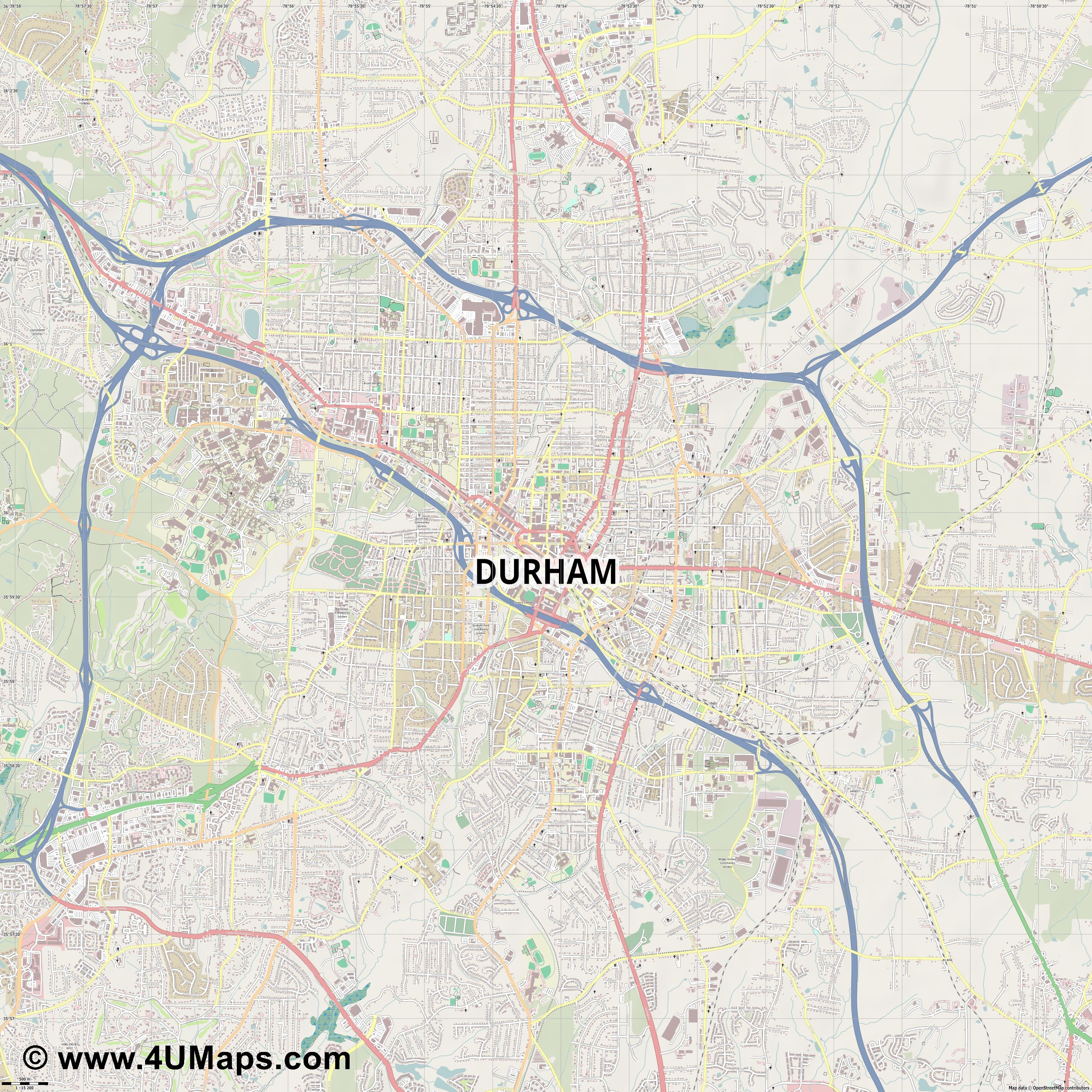 Durham  jpg ultra high detail preview vector city map