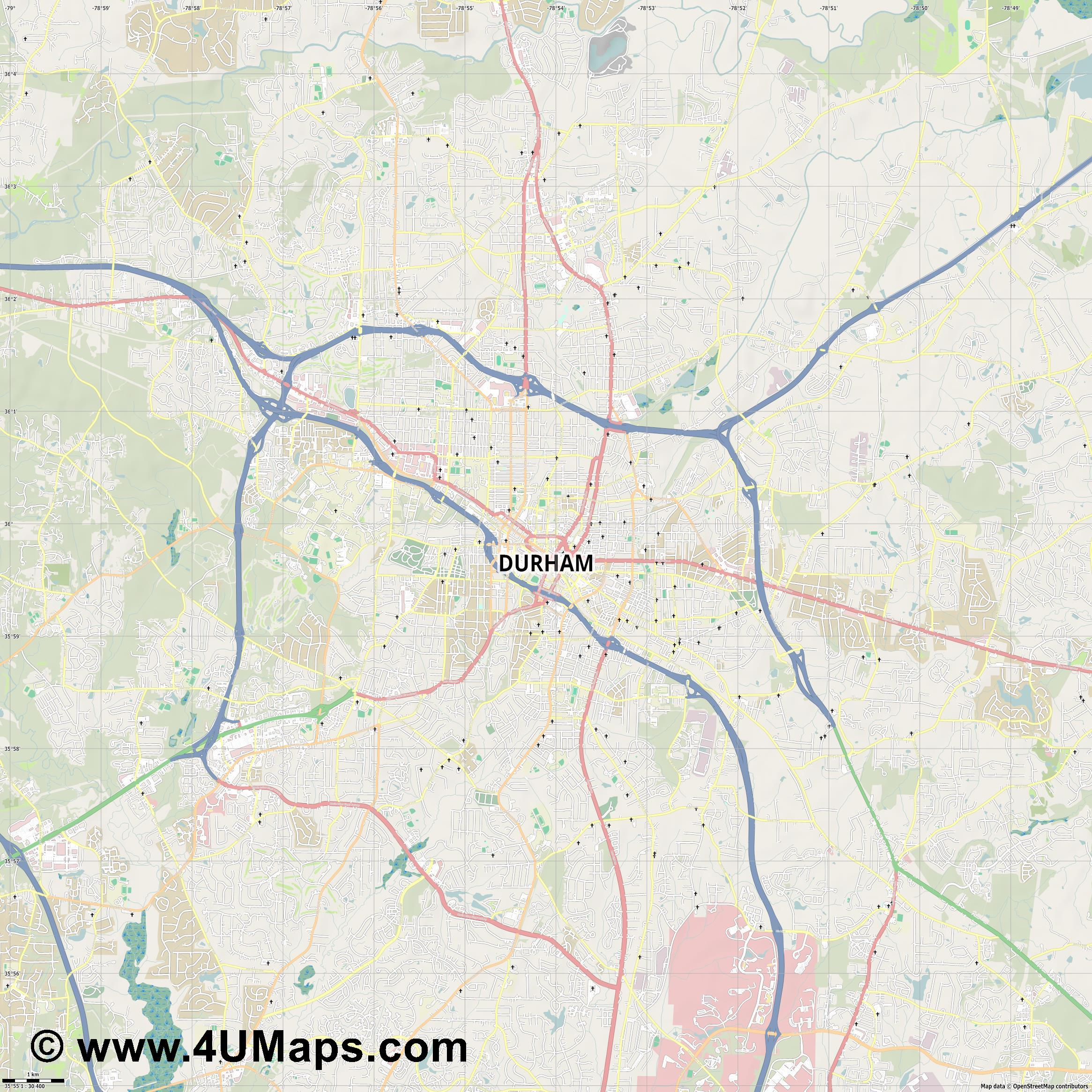 Durham  jpg high detail, large area preview vector city map