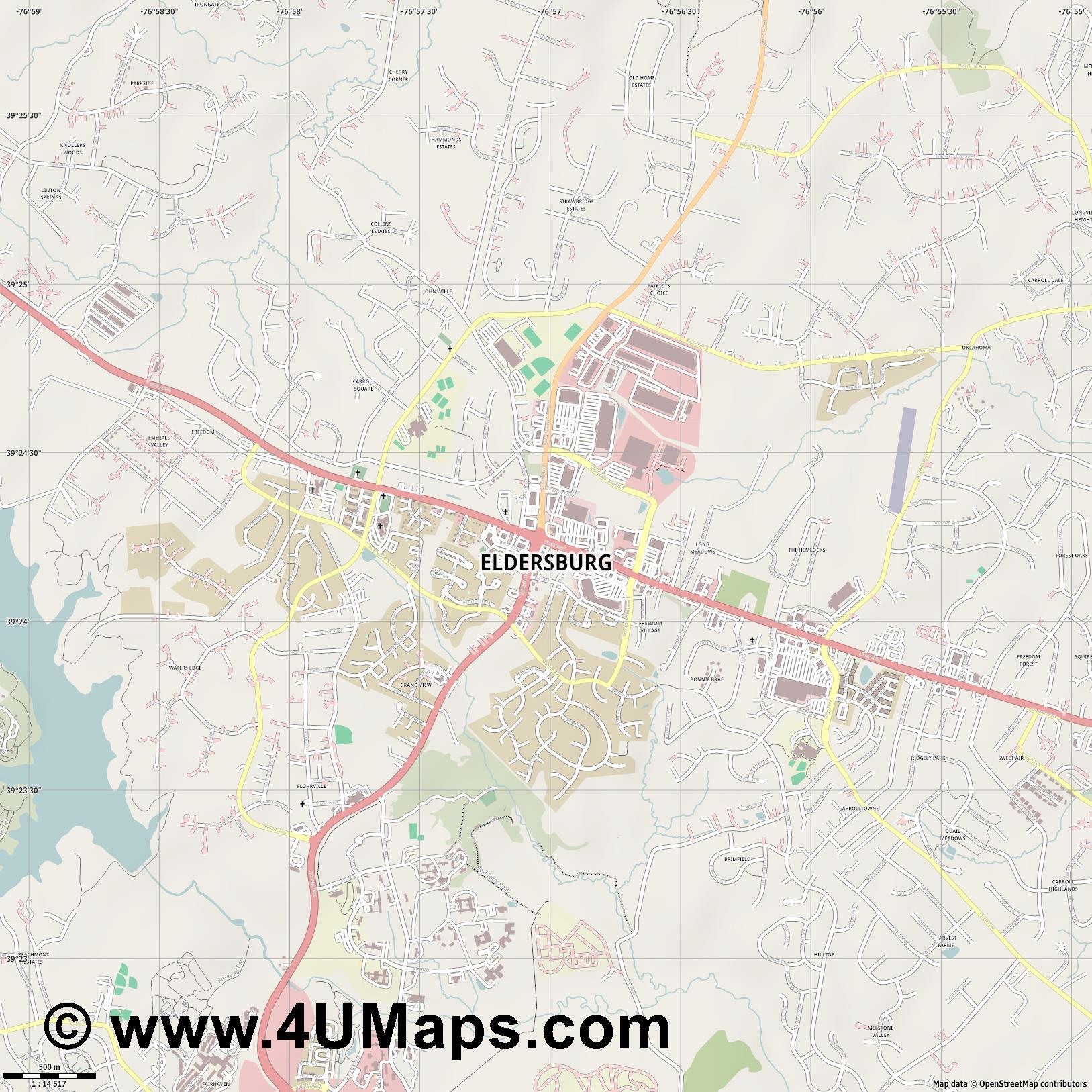 Eldersburg  jpg ultra high detail preview vector city map