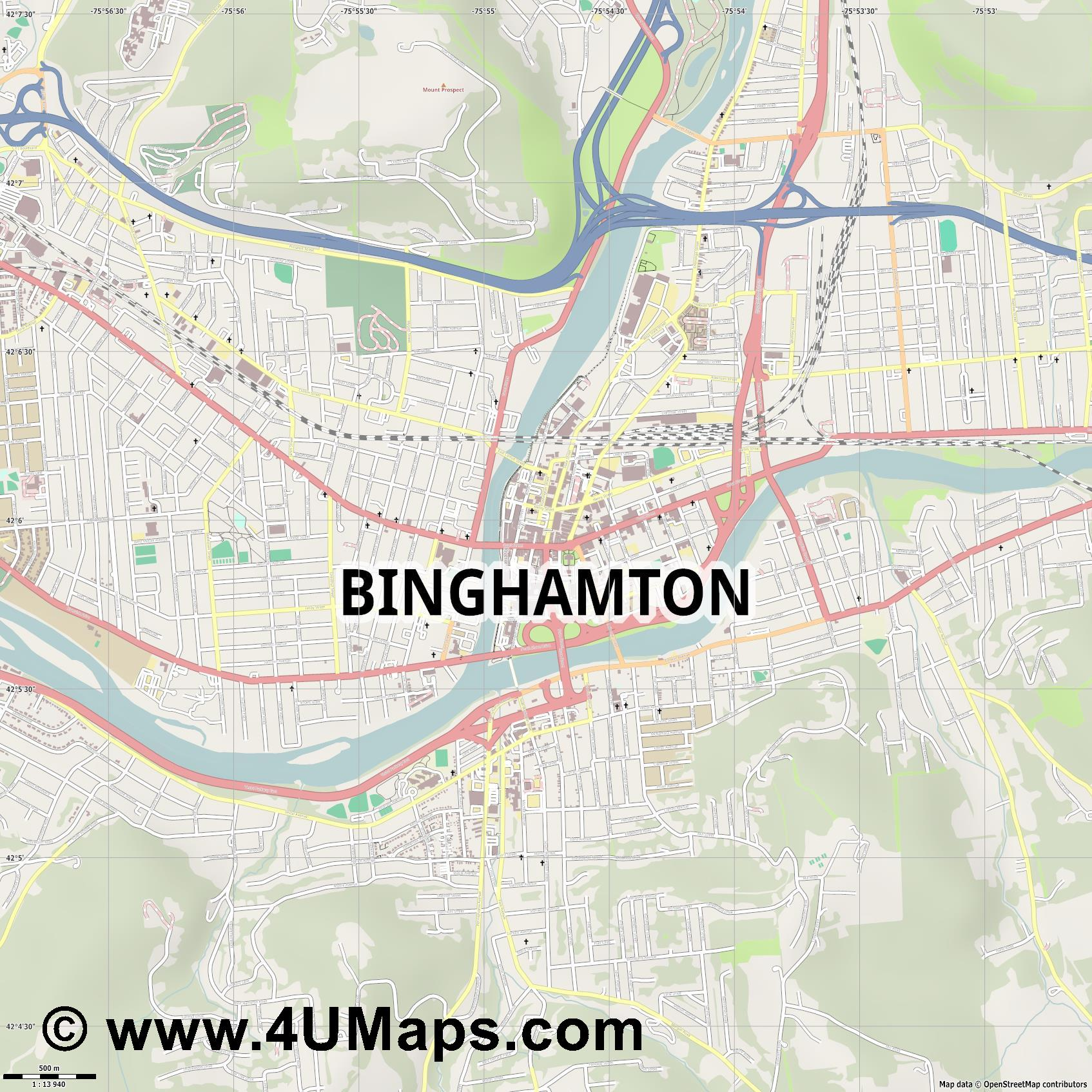 Binghamton  jpg ultra high detail preview vector city map