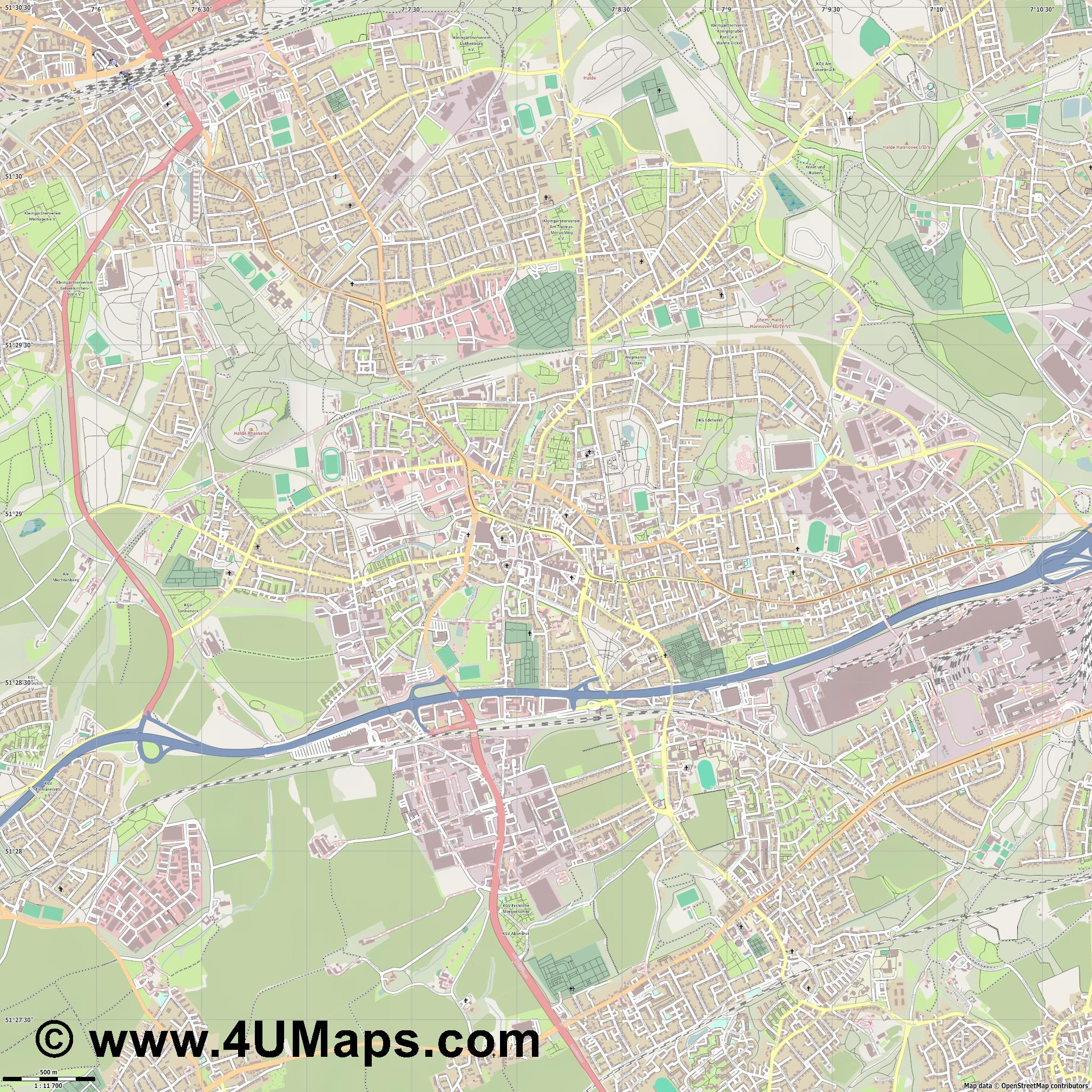 Wattenscheid  jpg ultra high detail preview vector city map