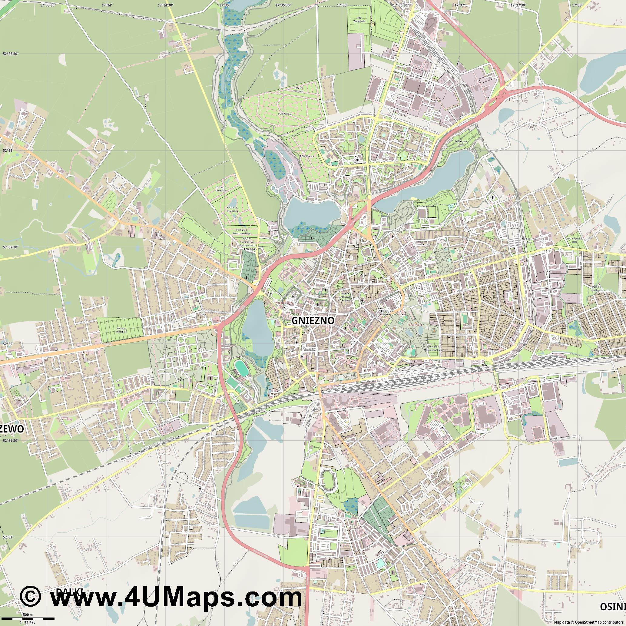 Gniezno Gnesen  jpg ultra high detail preview vector city map