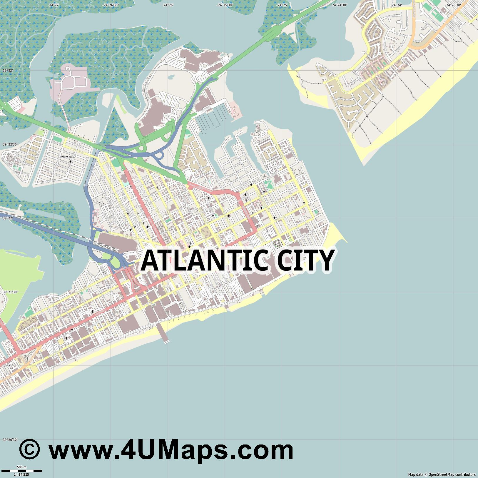 Atlantic City  jpg ultra high detail preview vector city map