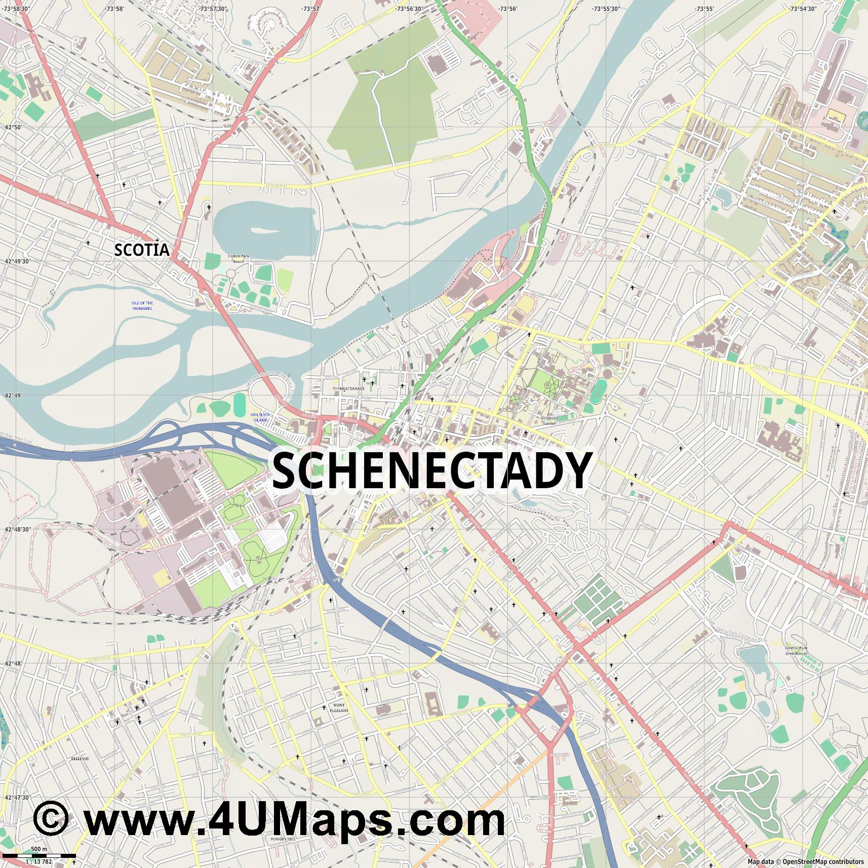 Schenectady  jpg ultra high detail preview vector city map