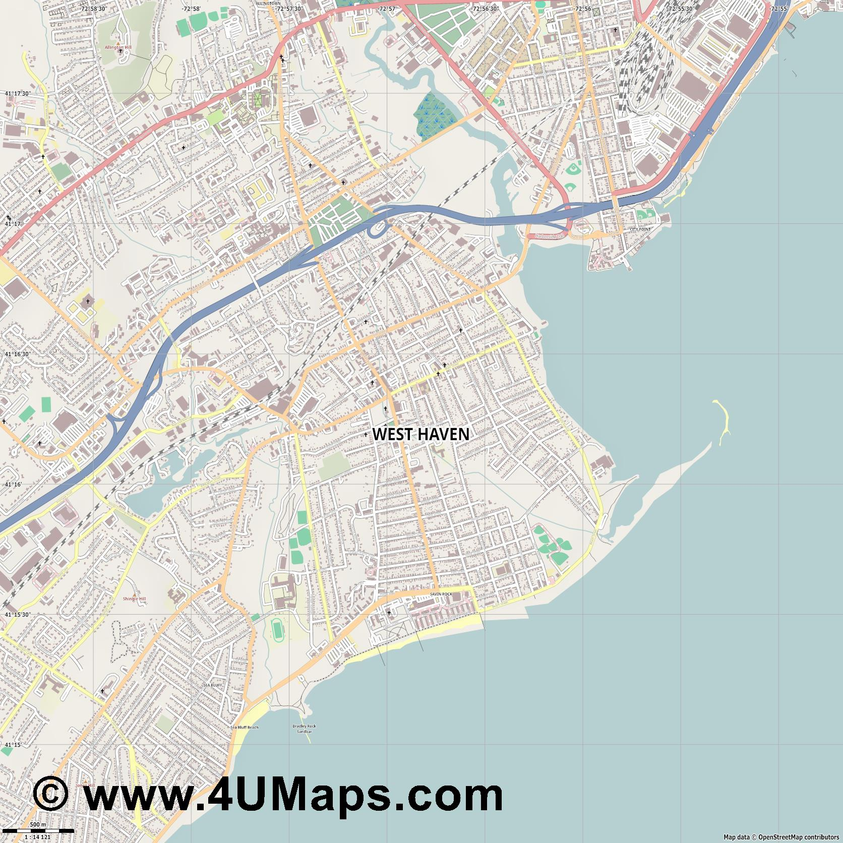 West Haven  jpg ultra high detail preview vector city map
