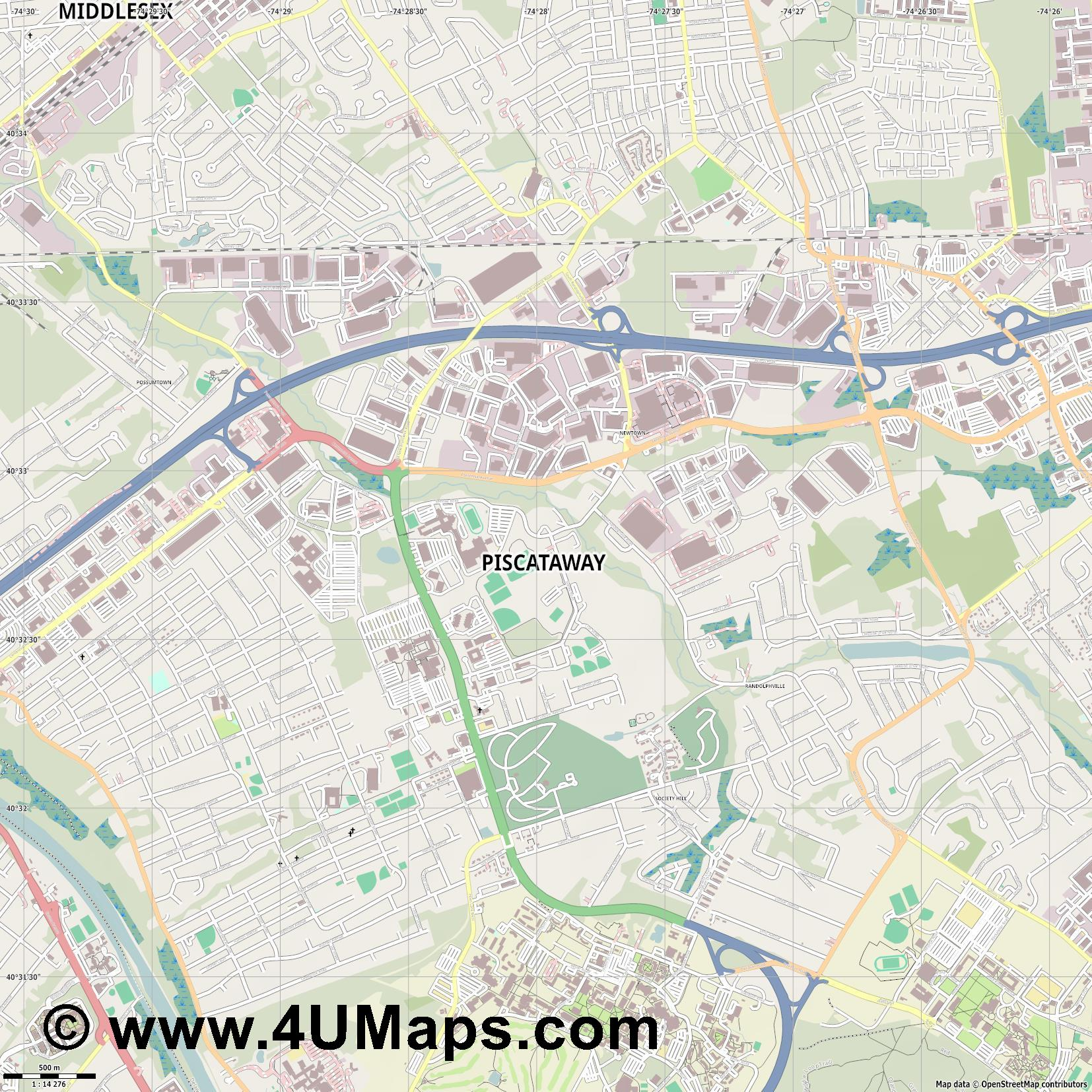 Piscataway  jpg ultra high detail preview vector city map