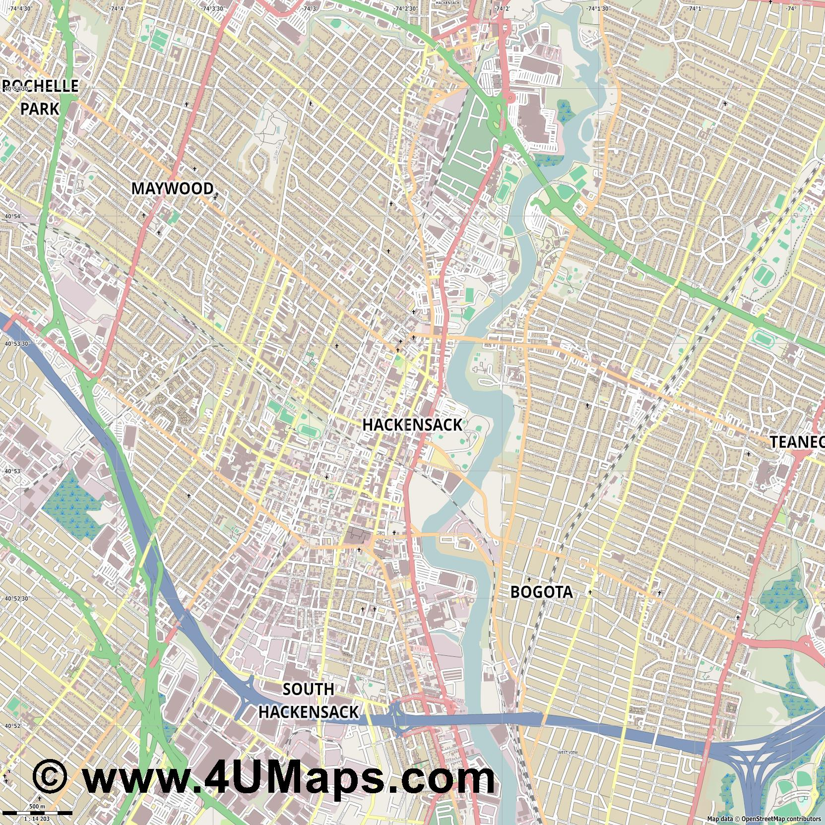 Hackensack  jpg ultra high detail preview vector city map