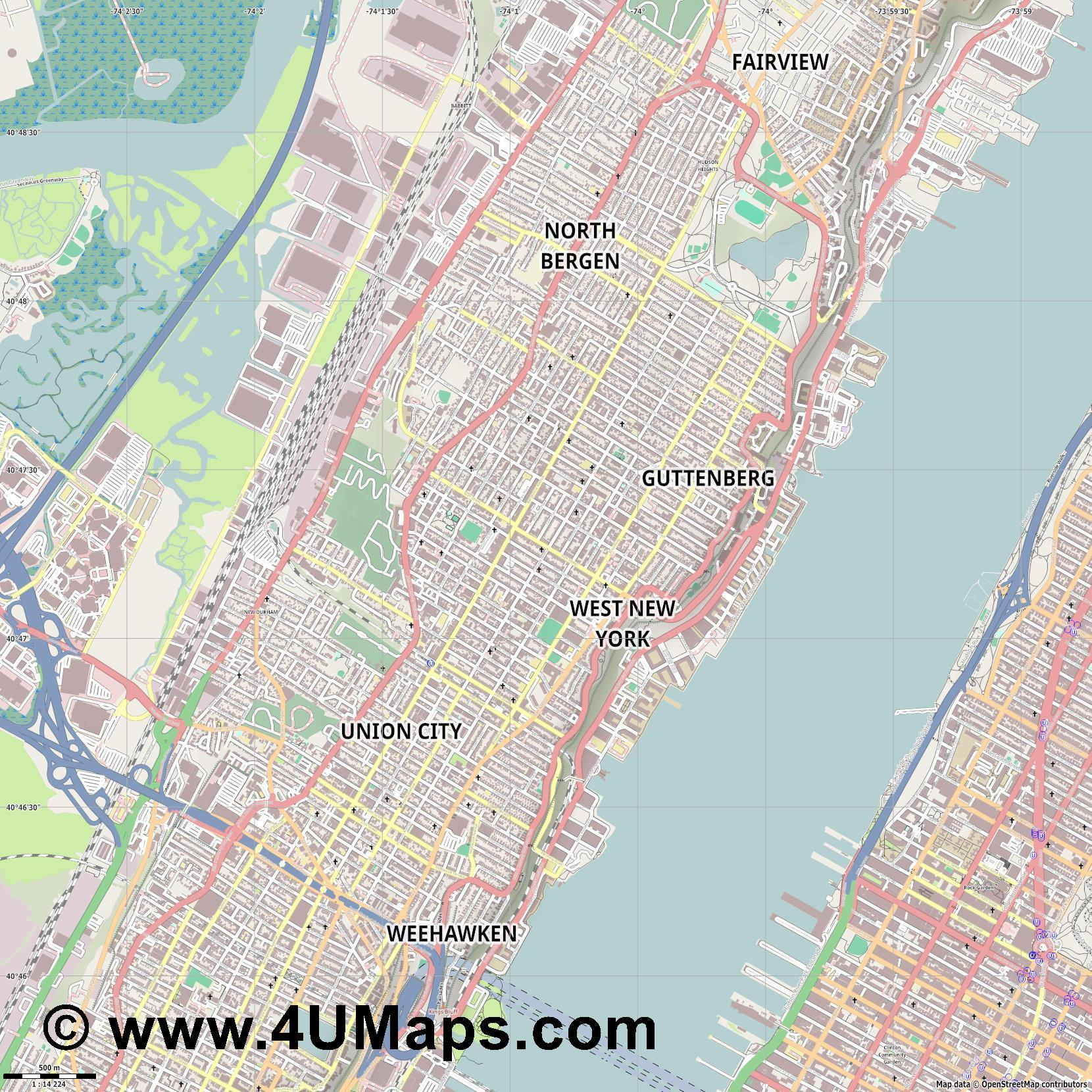 West New York  jpg ultra high detail preview vector city map