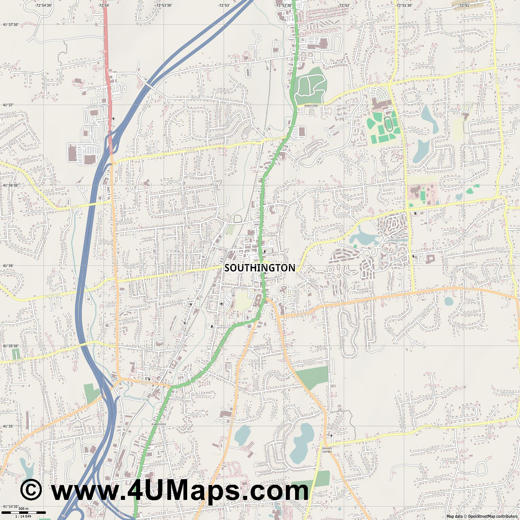 Southington  jpg ultra high detail preview vector city map