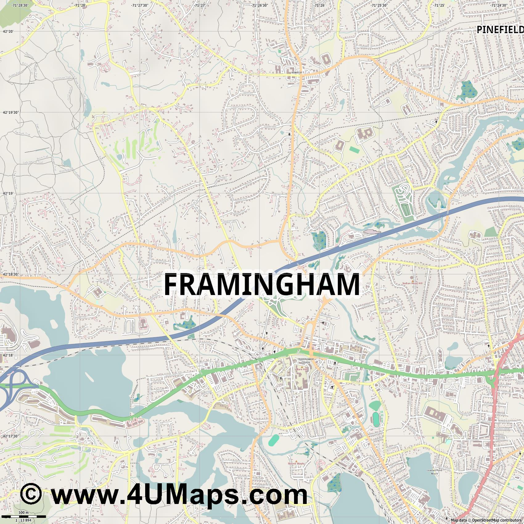 Framingham  jpg ultra high detail preview vector city map