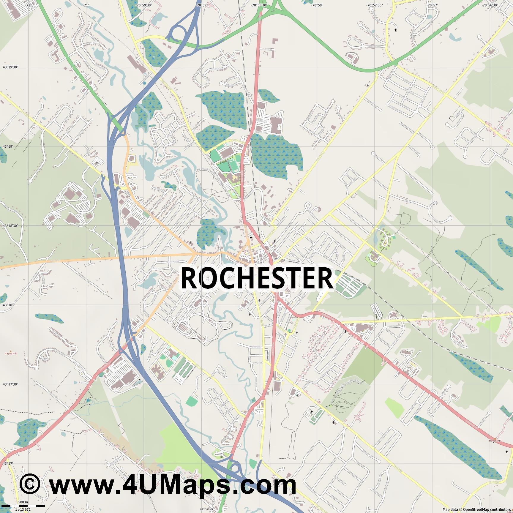 Rochester  jpg ultra high detail preview vector city map