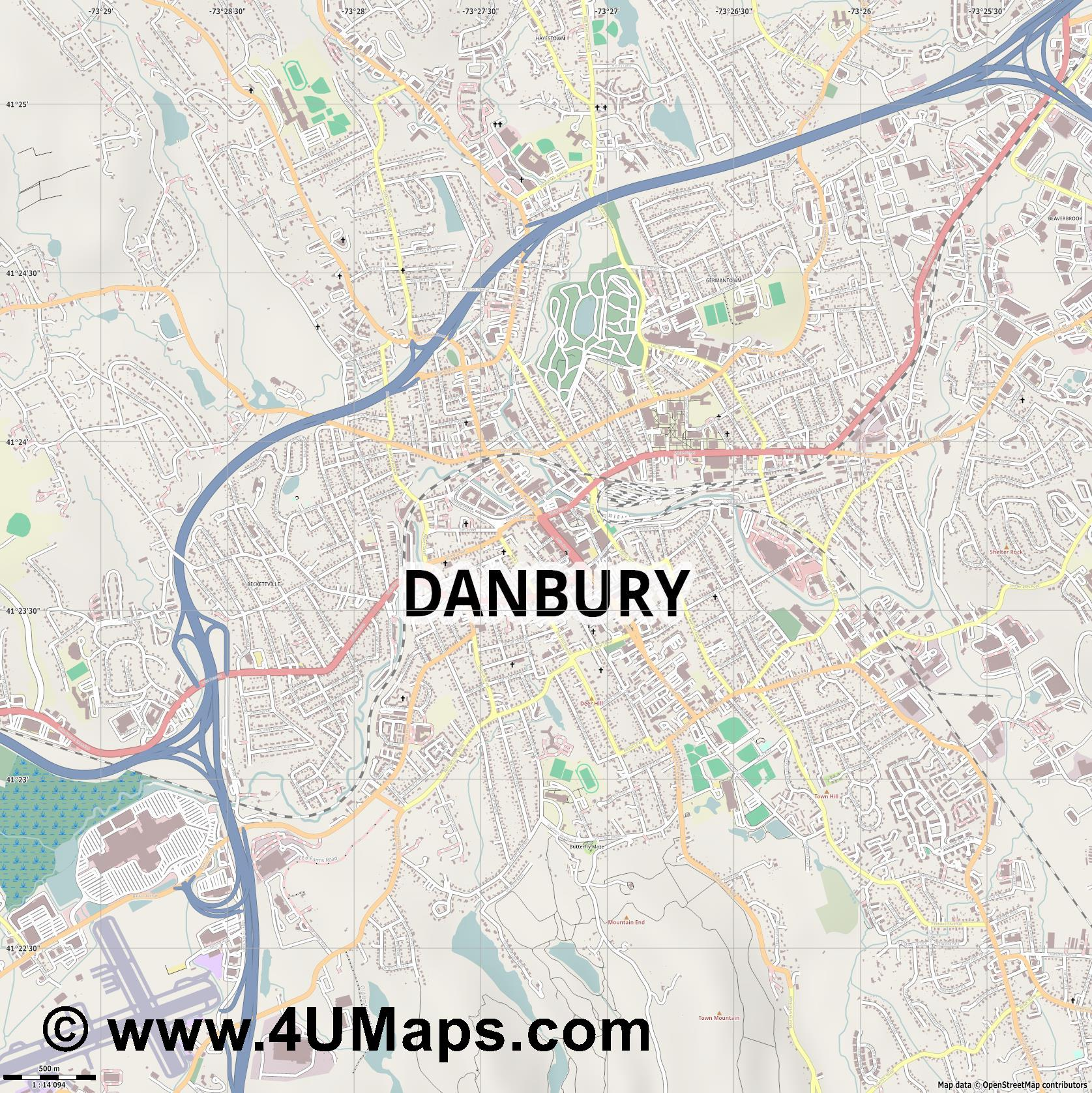 Danbury  jpg ultra high detail preview vector city map