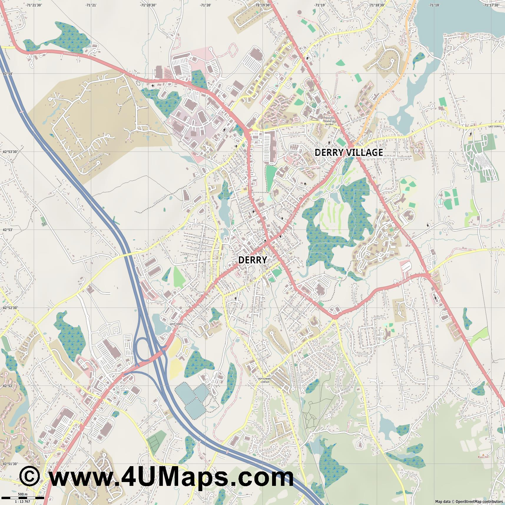 Derry  jpg ultra high detail preview vector city map