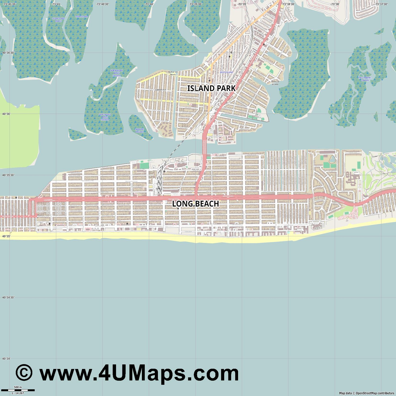 Long Beach  jpg ultra high detail preview vector city map