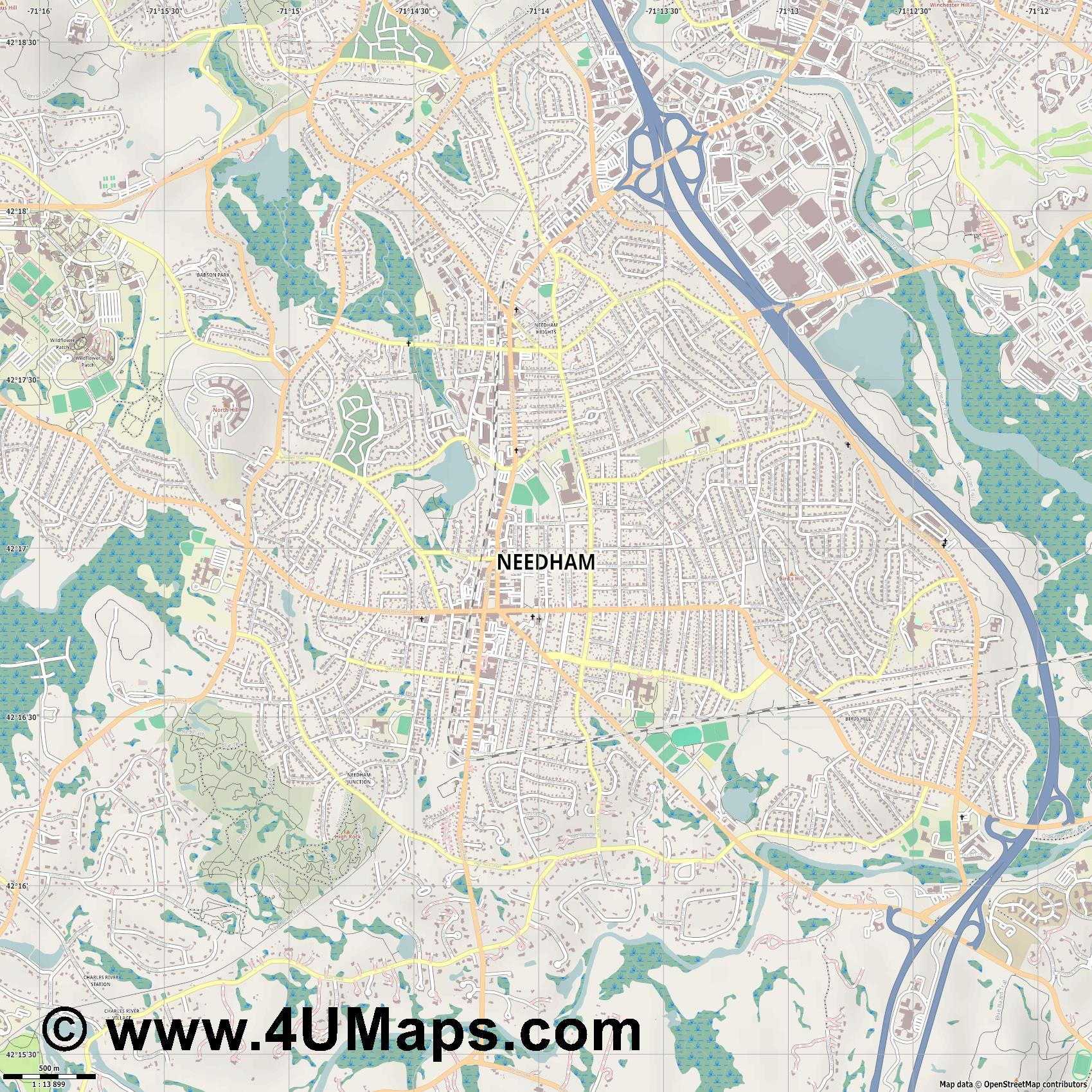 Needham  jpg ultra high detail preview vector city map