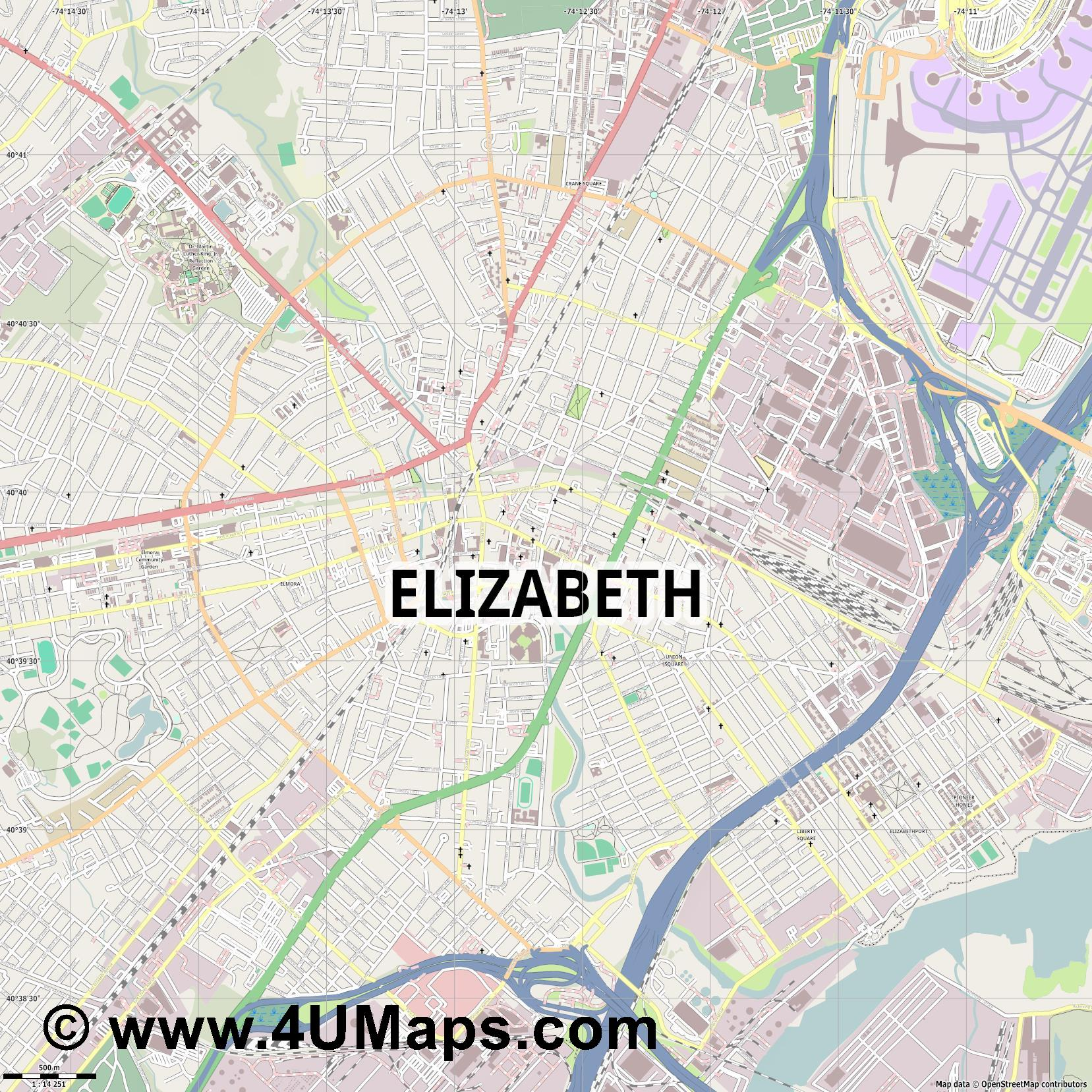 Elizabeth  jpg ultra high detail preview vector city map