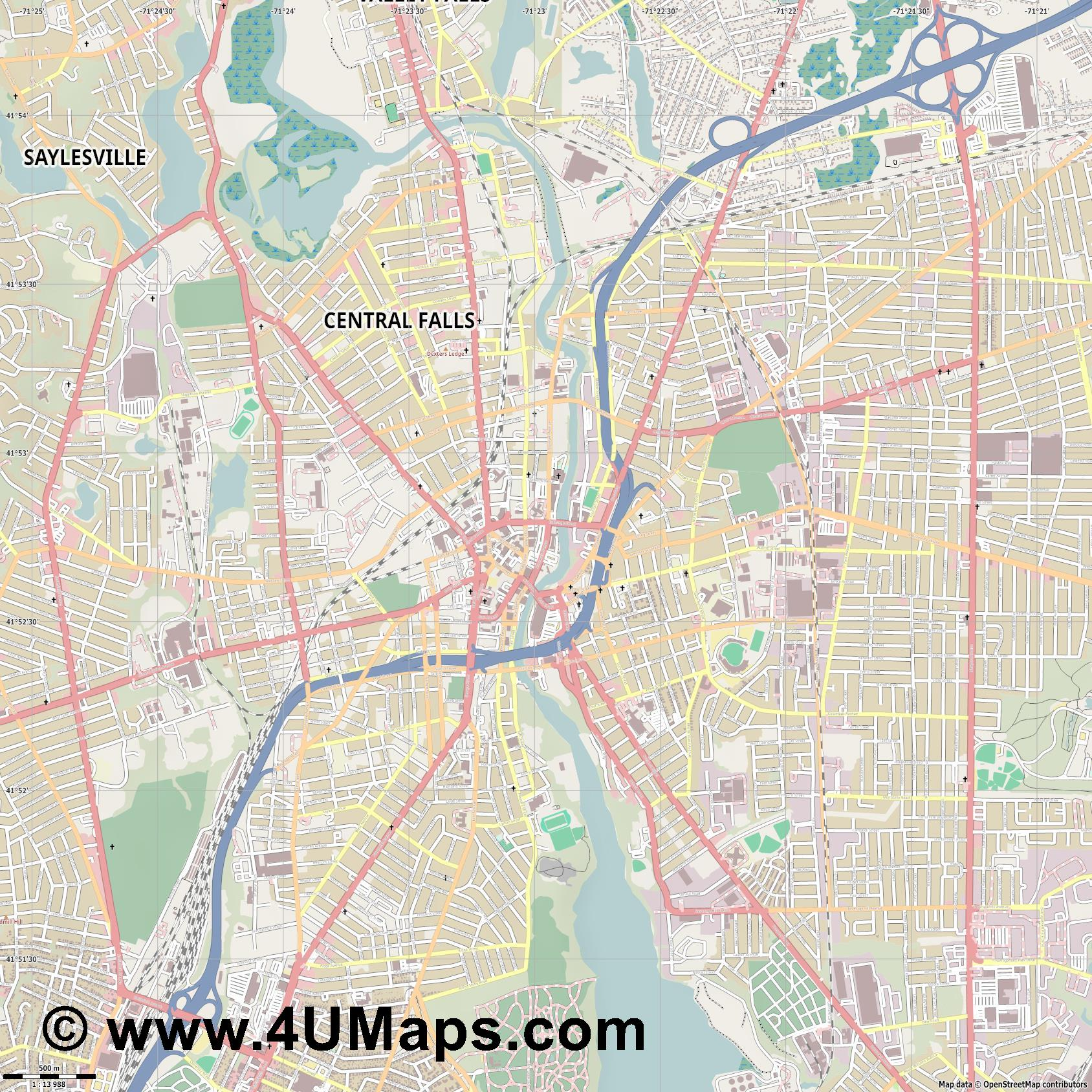 Pawtucket  jpg ultra high detail preview vector city map