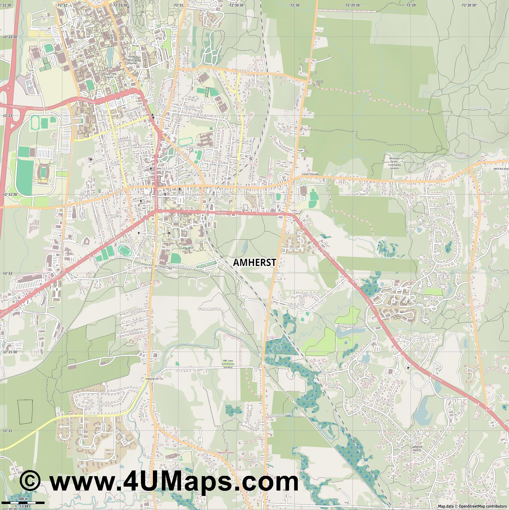 Amherst  jpg ultra high detail preview vector city map