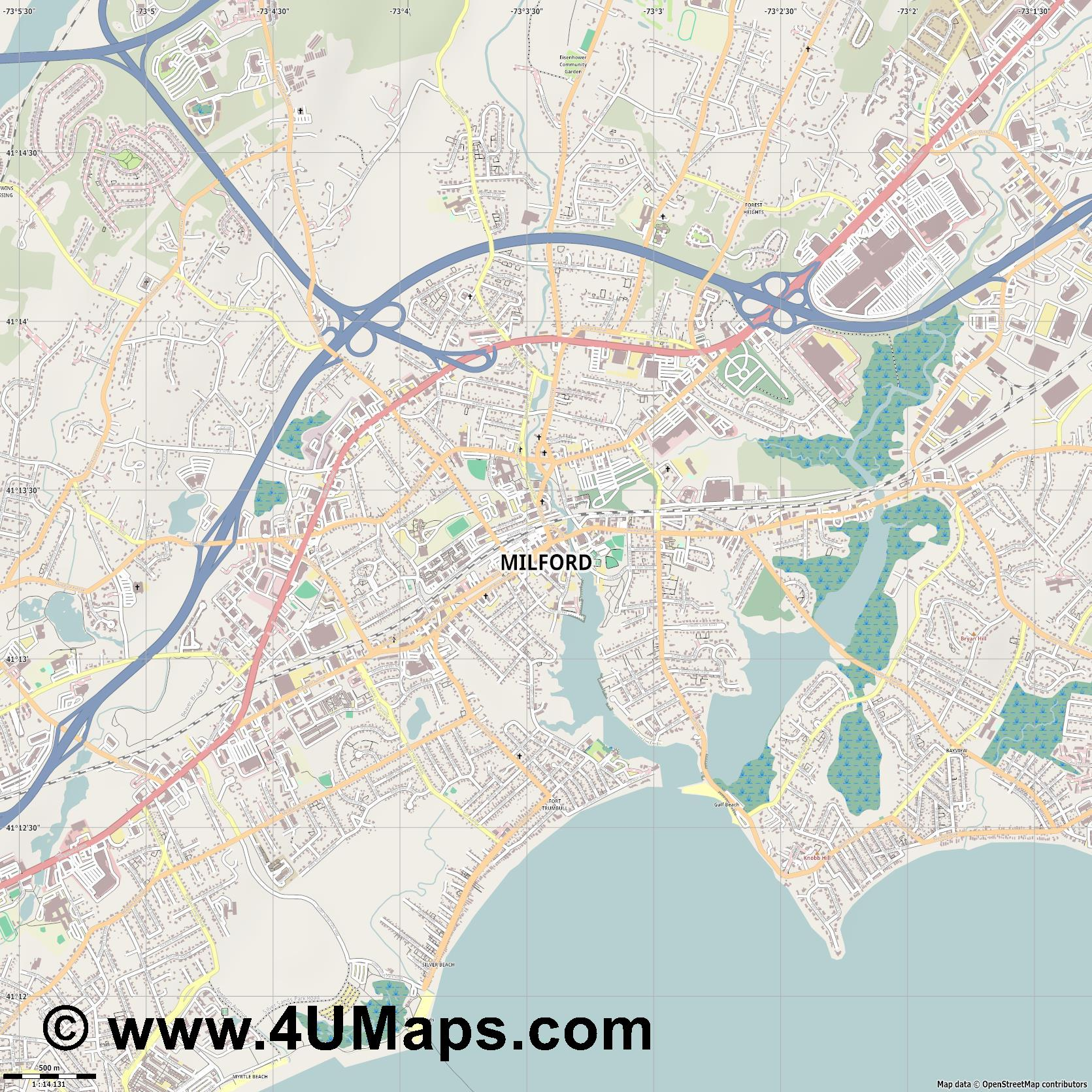 Milford  jpg ultra high detail preview vector city map