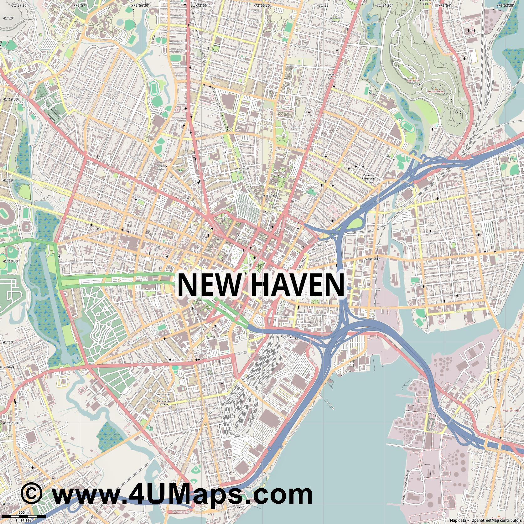 New Haven  jpg ultra high detail preview vector city map