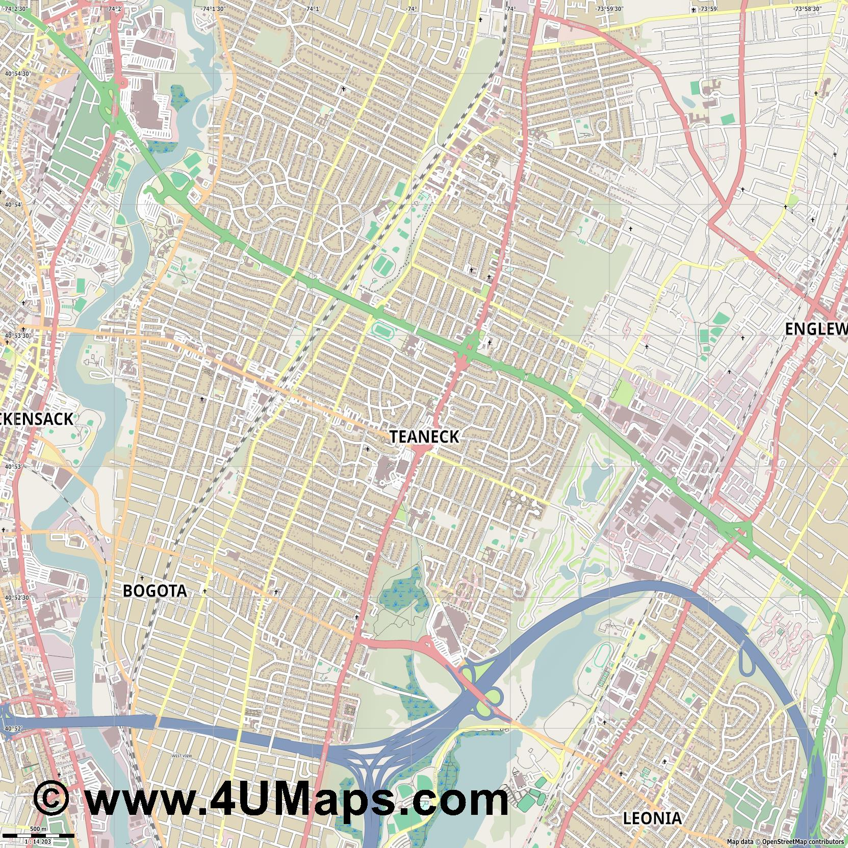 Teaneck  jpg ultra high detail preview vector city map