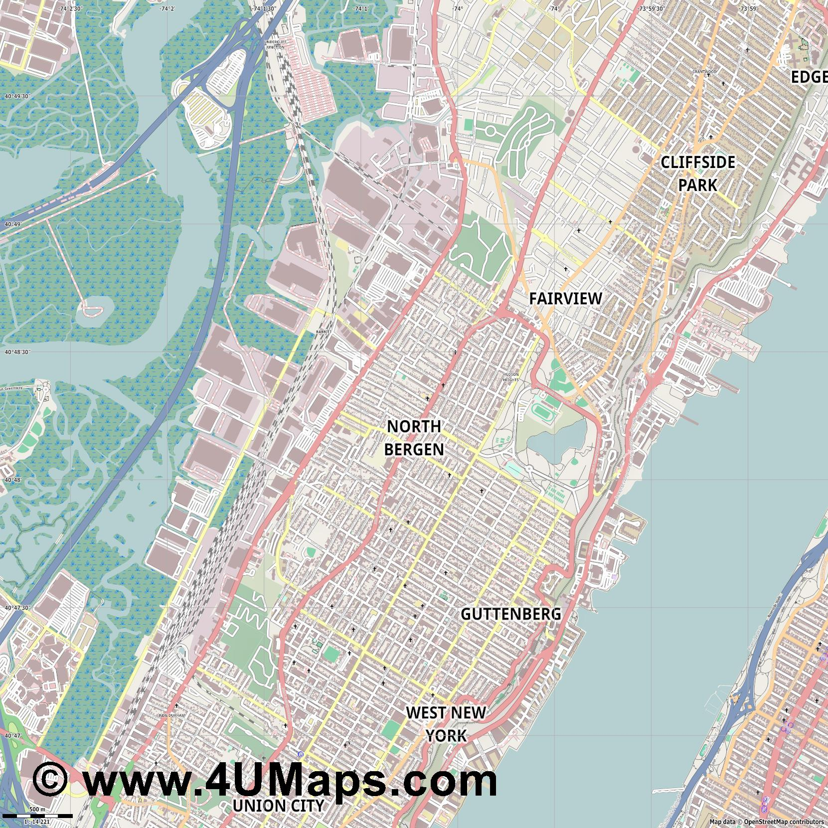 North Bergen  jpg ultra high detail preview vector city map