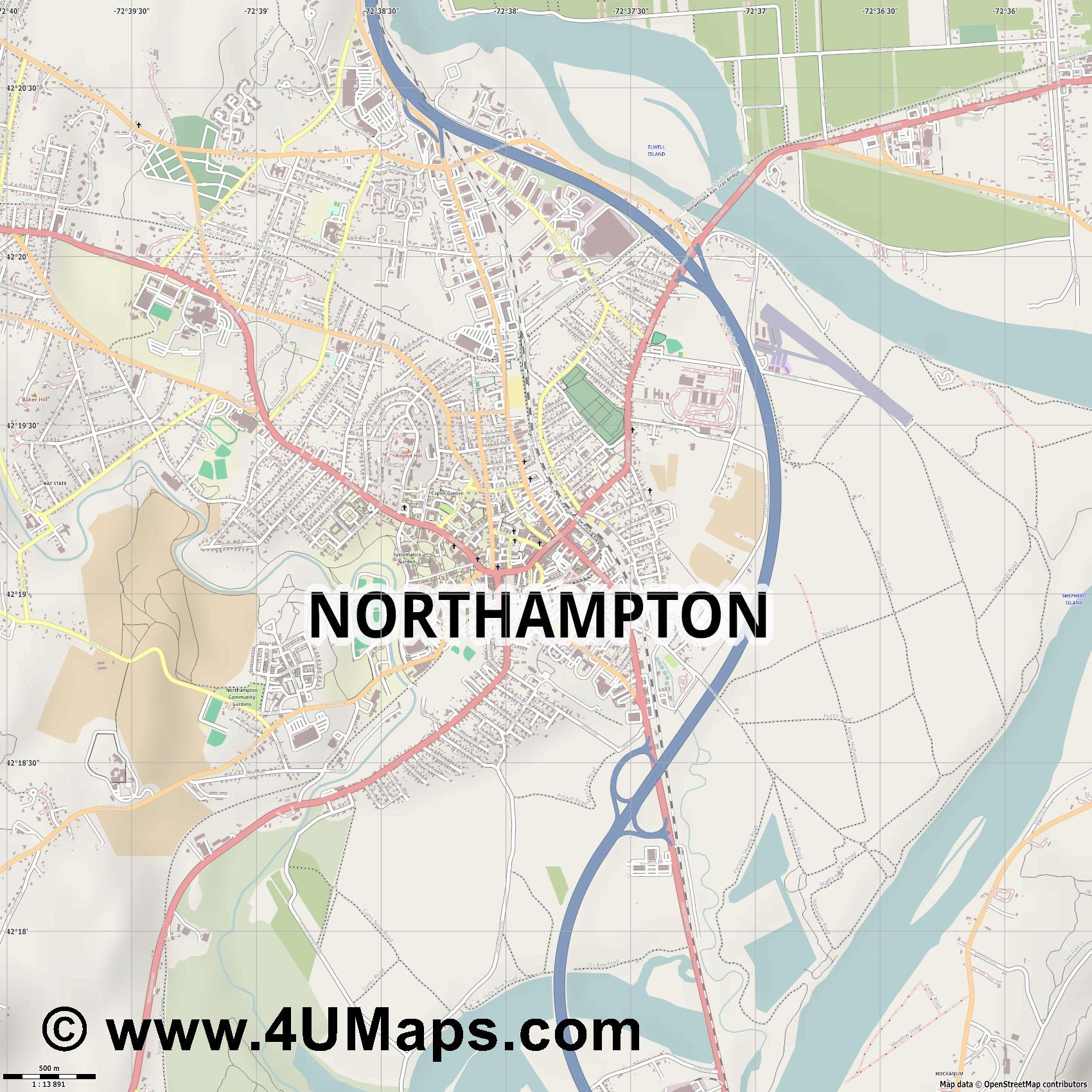 Northampton  jpg ultra high detail preview vector city map