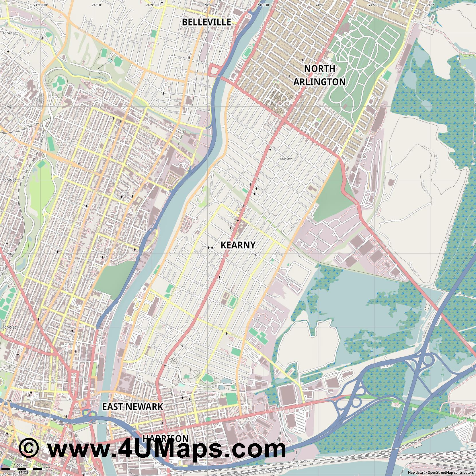 Kearny  jpg ultra high detail preview vector city map
