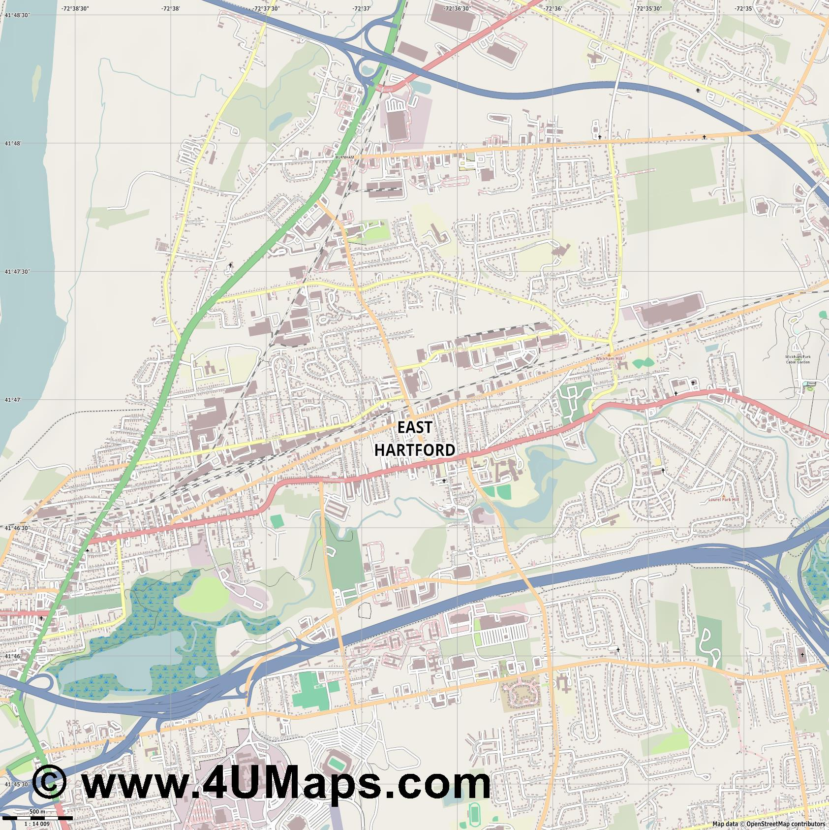 East Hartford  jpg ultra high detail preview vector city map