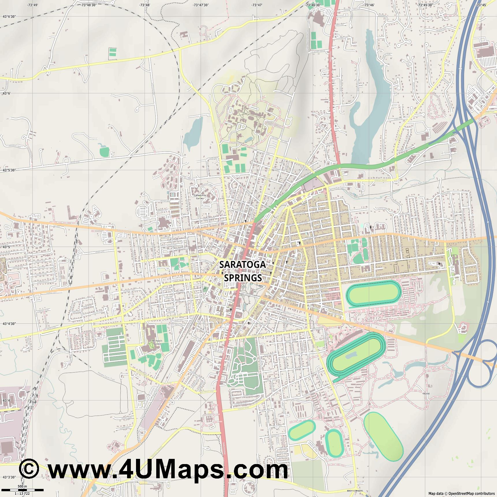 Saratoga Springs  jpg ultra high detail preview vector city map