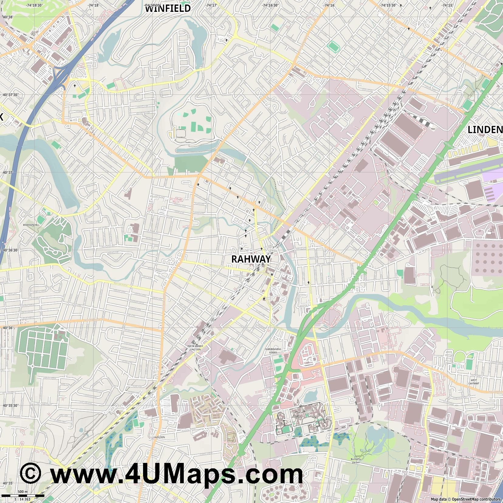 Rahway  jpg ultra high detail preview vector city map