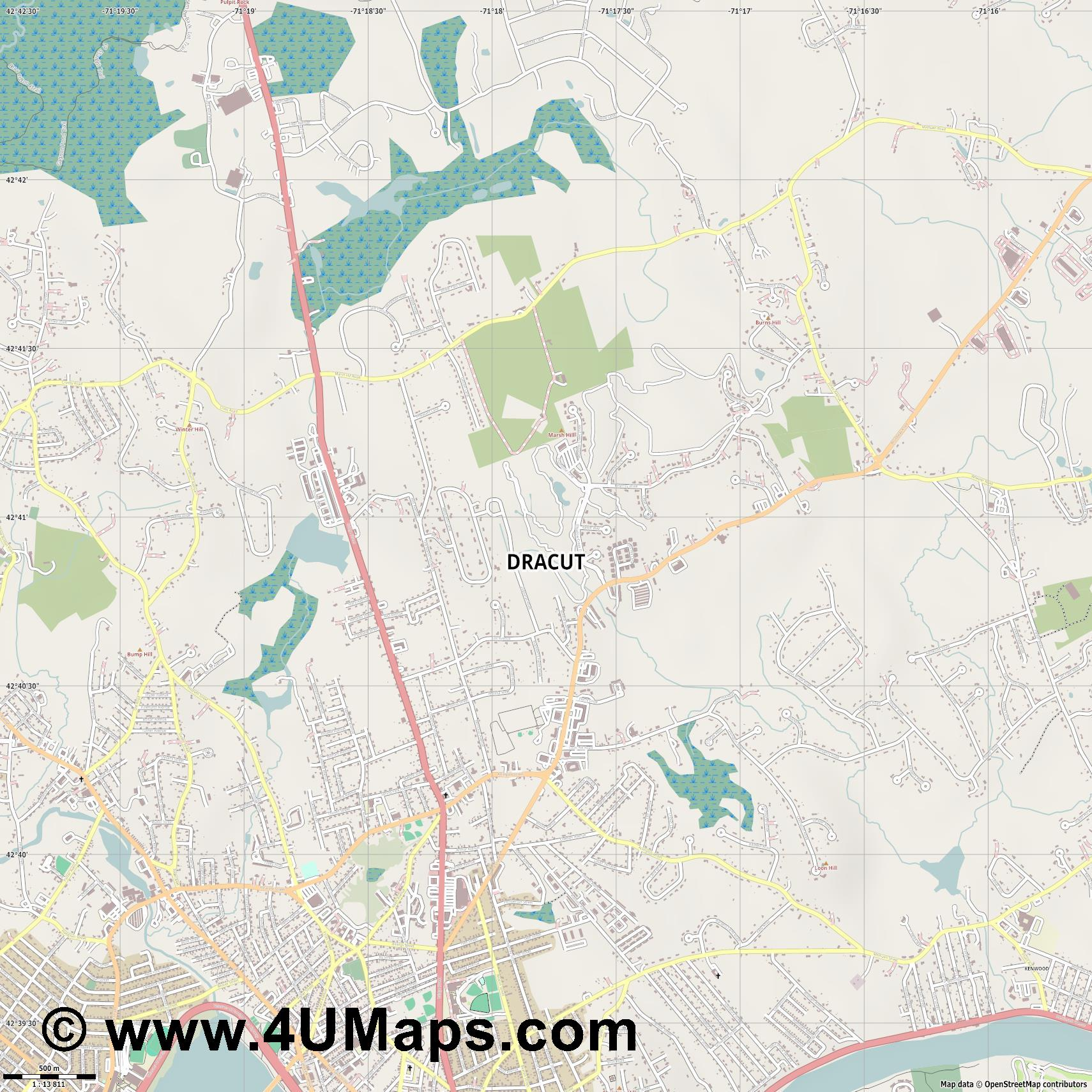 Dracut  jpg ultra high detail preview vector city map