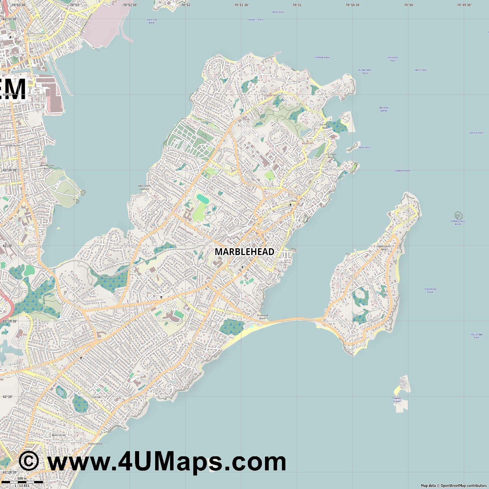 Marblehead  jpg ultra high detail preview vector city map