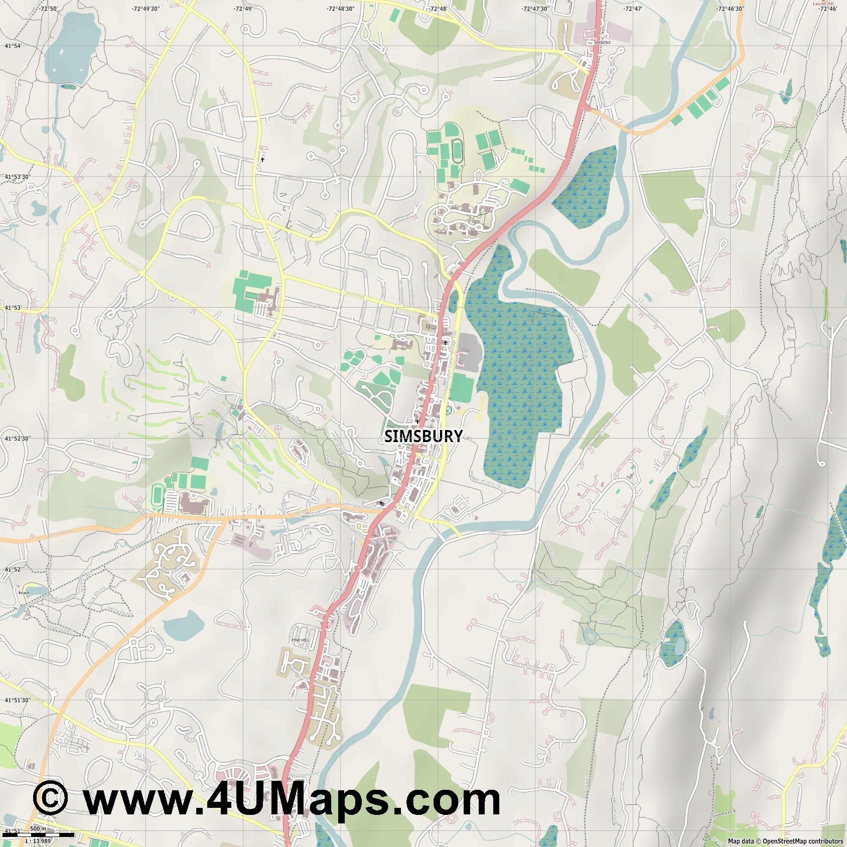 Simsbury  jpg ultra high detail preview vector city map