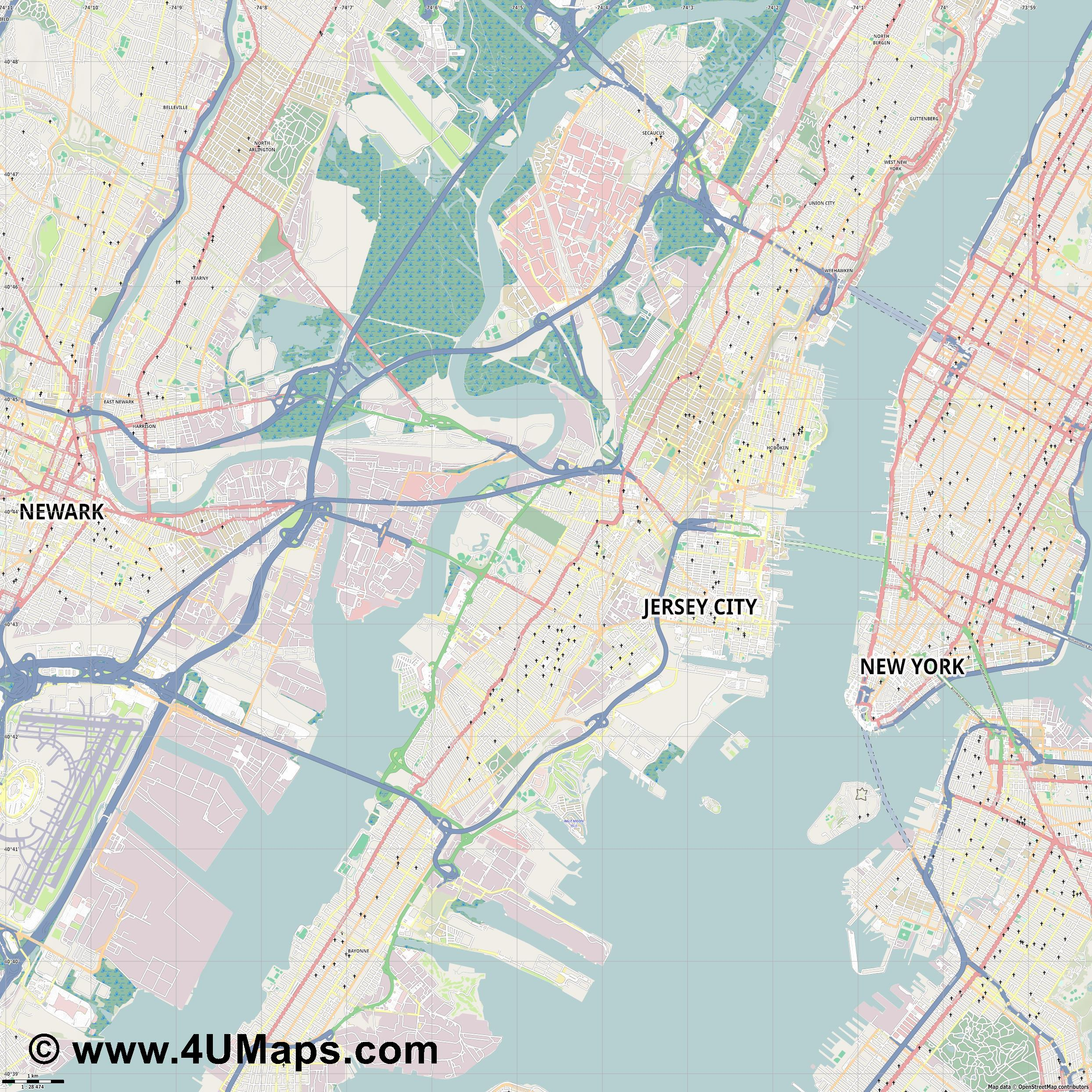 Jersey City  jpg high detail, large area preview vector city map