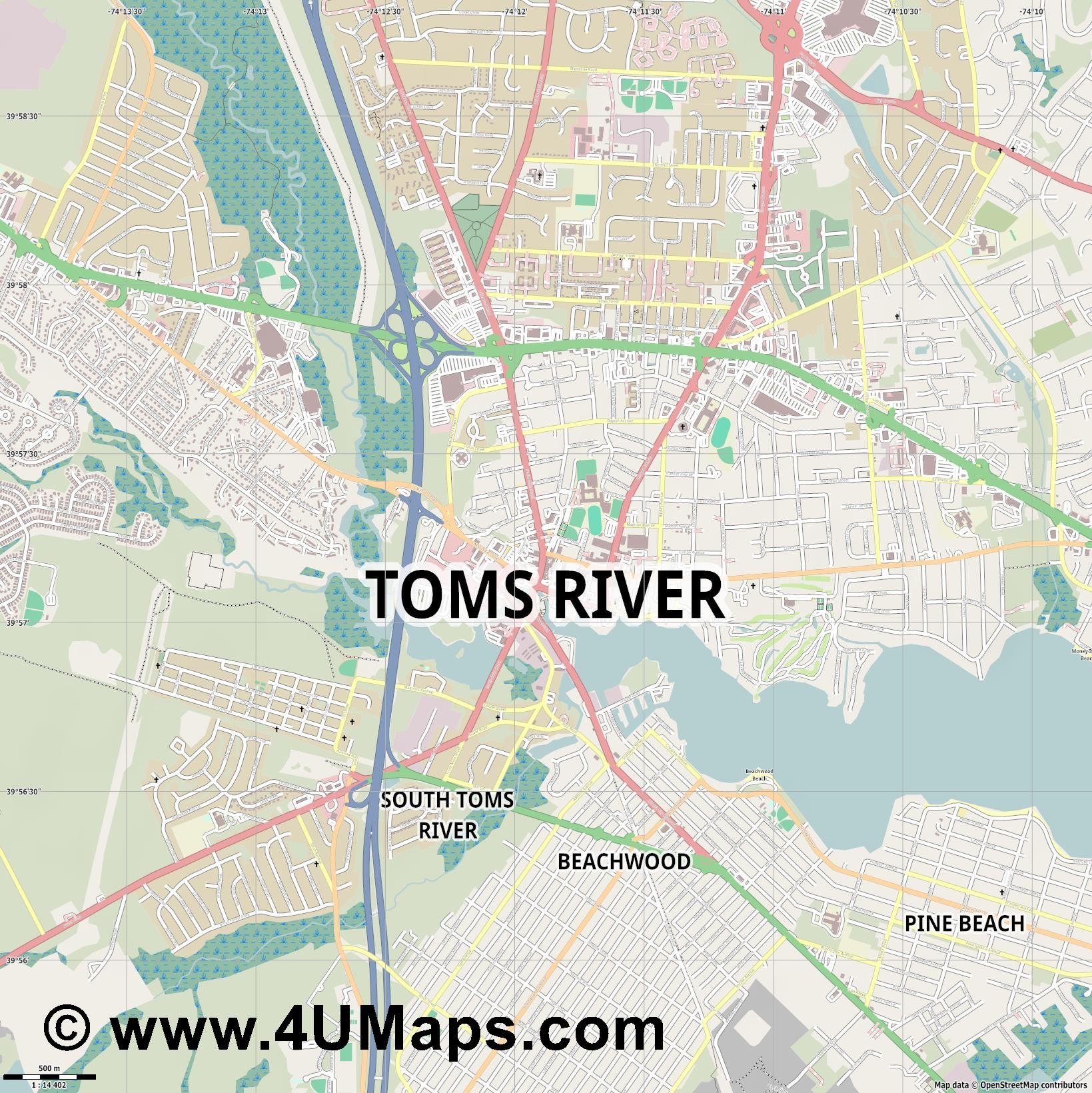 Toms River  jpg ultra high detail preview vector city map