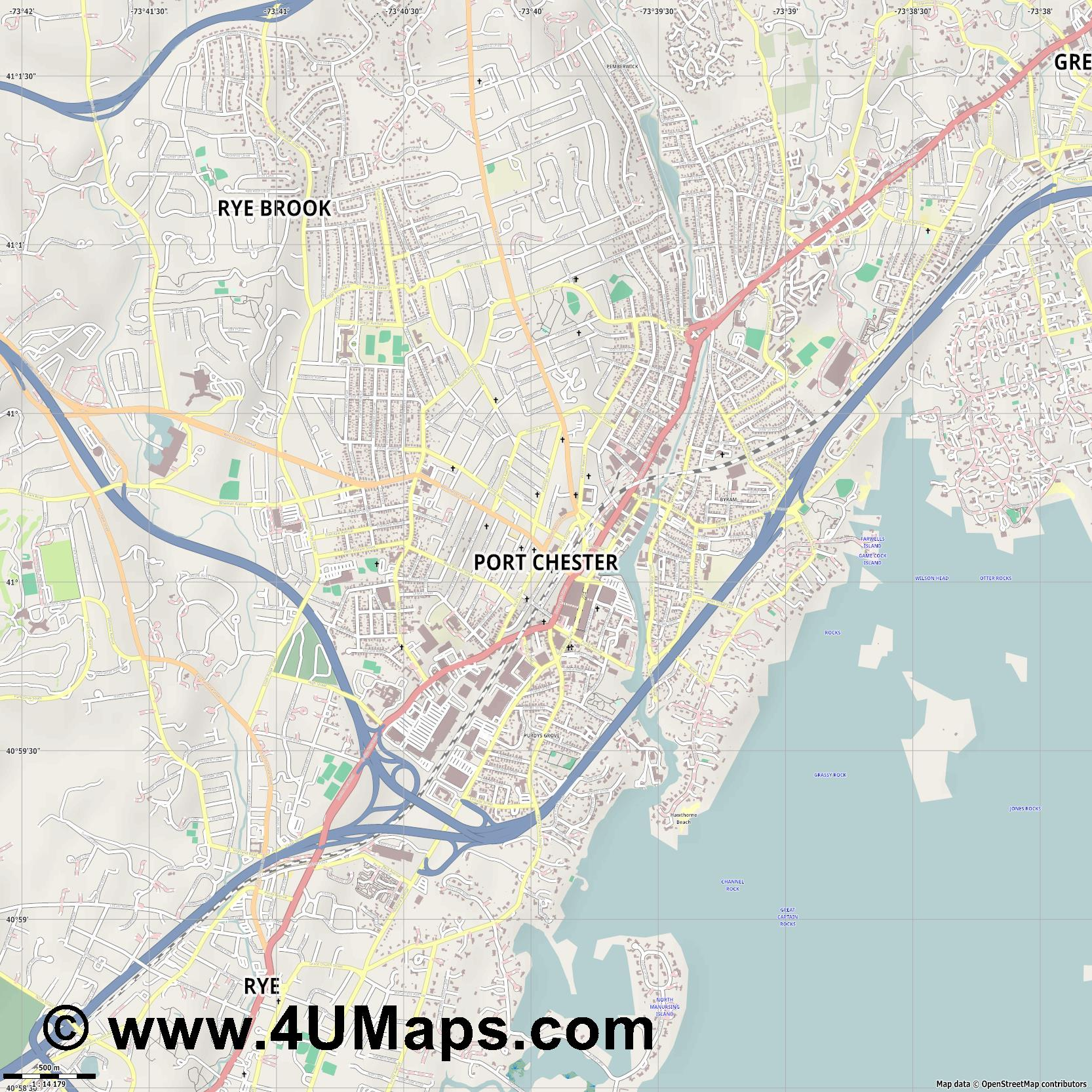 Port Chester  jpg ultra high detail preview vector city map
