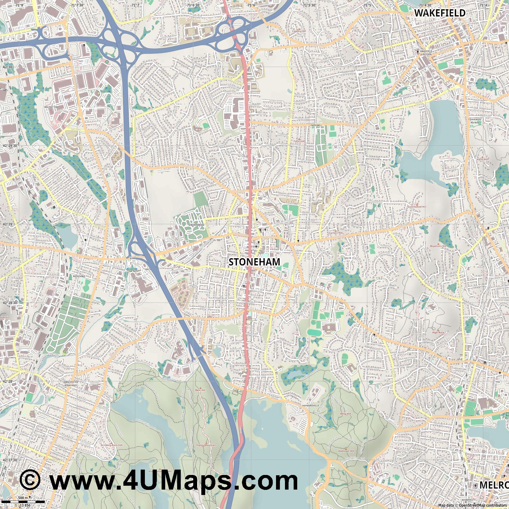 Stoneham  jpg ultra high detail preview vector city map