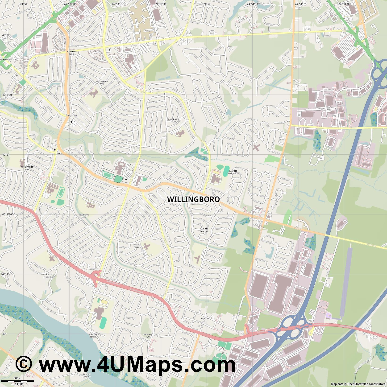 Willingboro  jpg ultra high detail preview vector city map