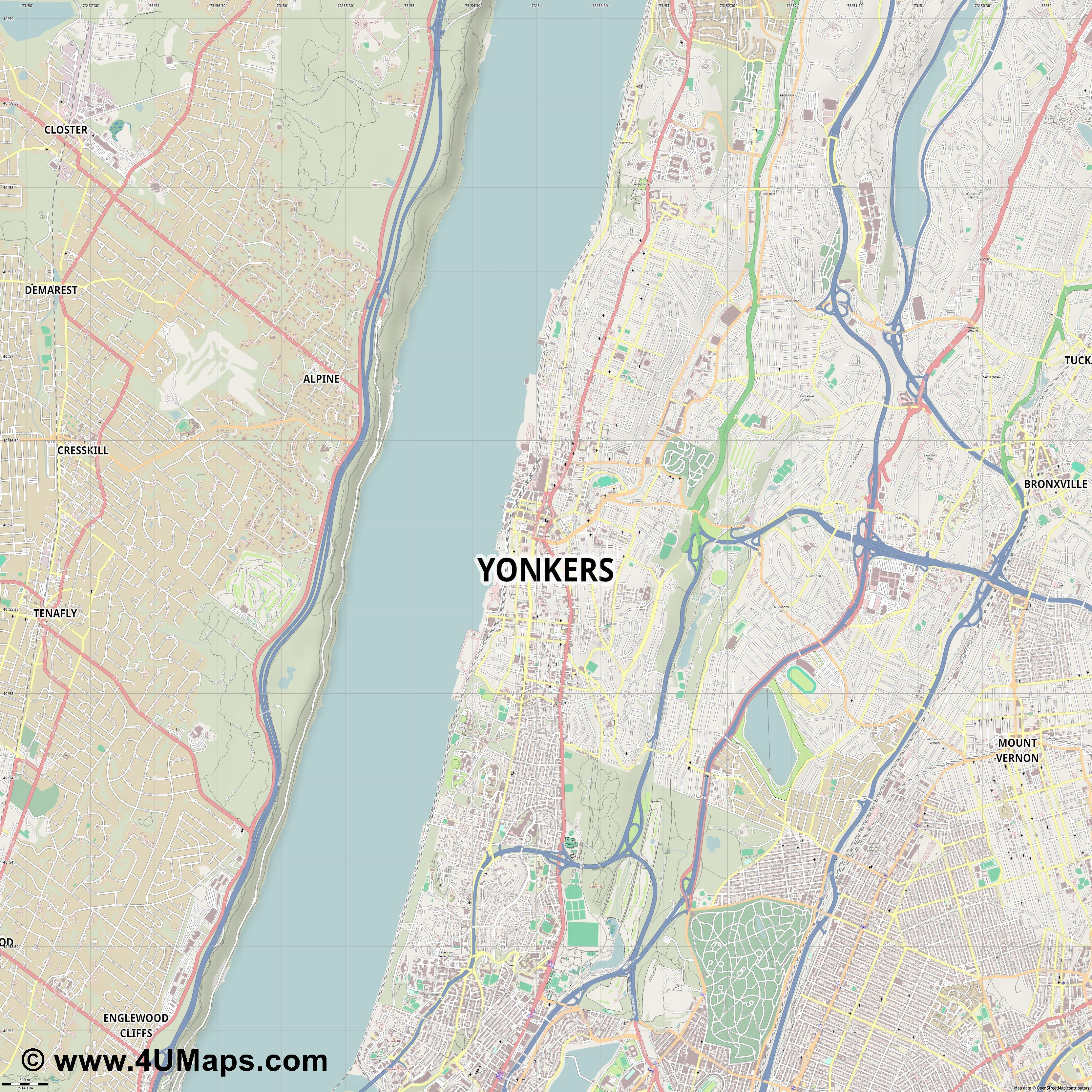 Yonkers  jpg ultra high detail preview vector city map
