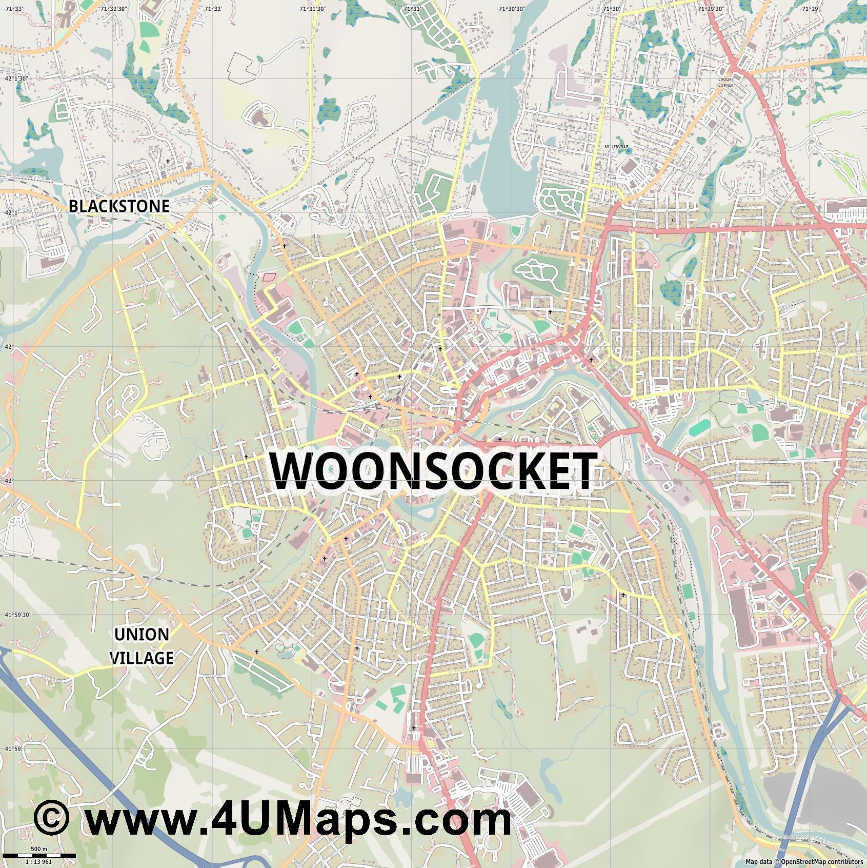 Woonsocket  jpg ultra high detail preview vector city map