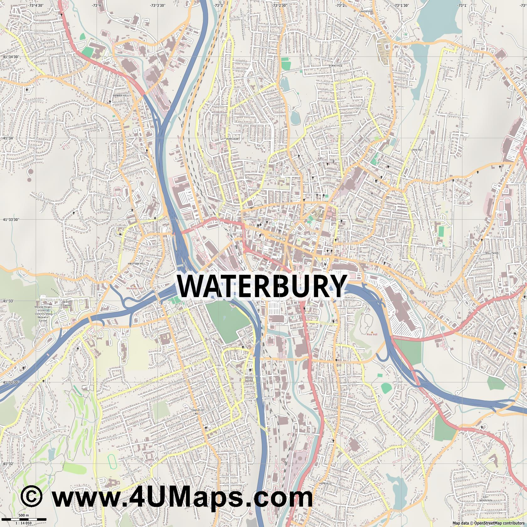 Waterbury  jpg ultra high detail preview vector city map