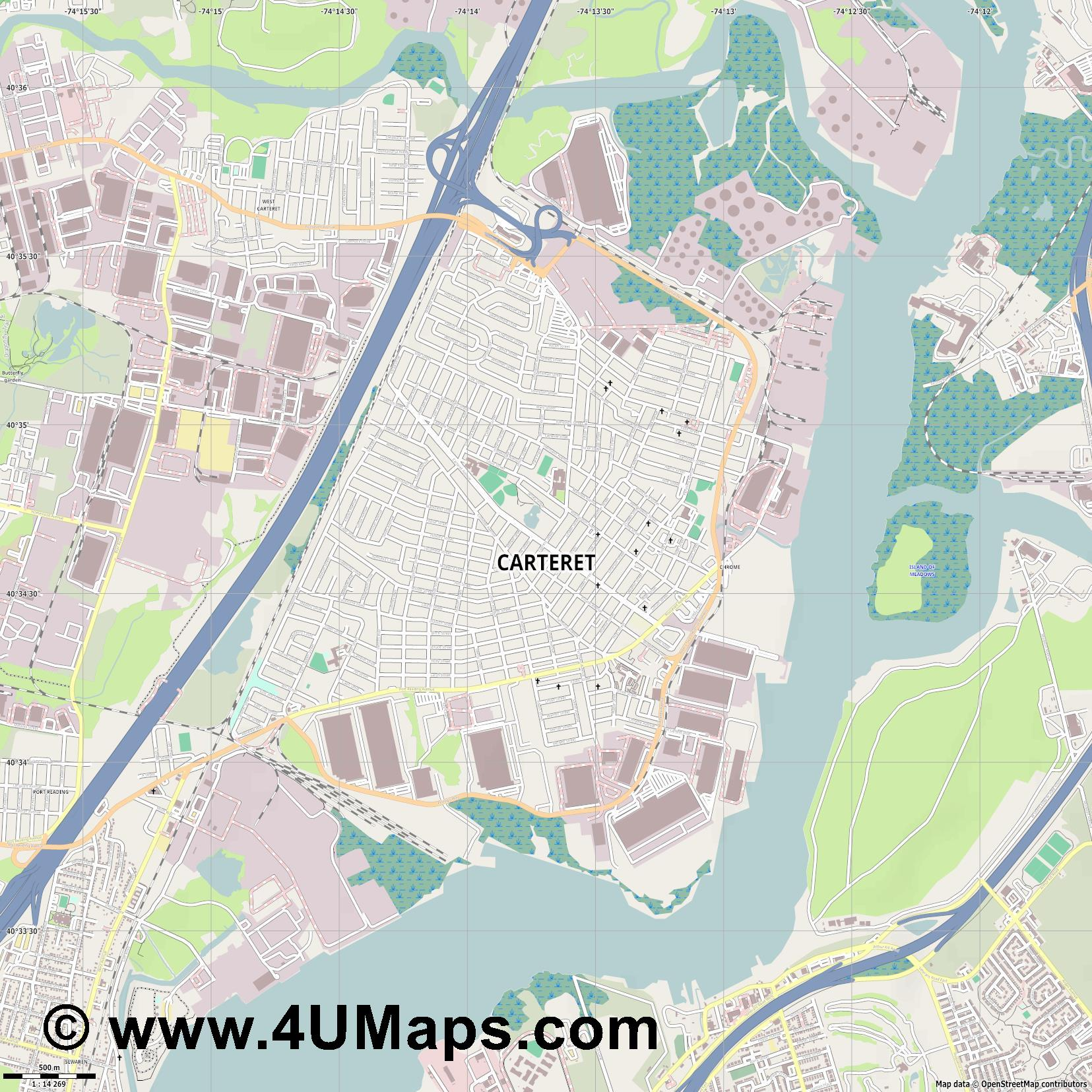 Carteret  jpg ultra high detail preview vector city map