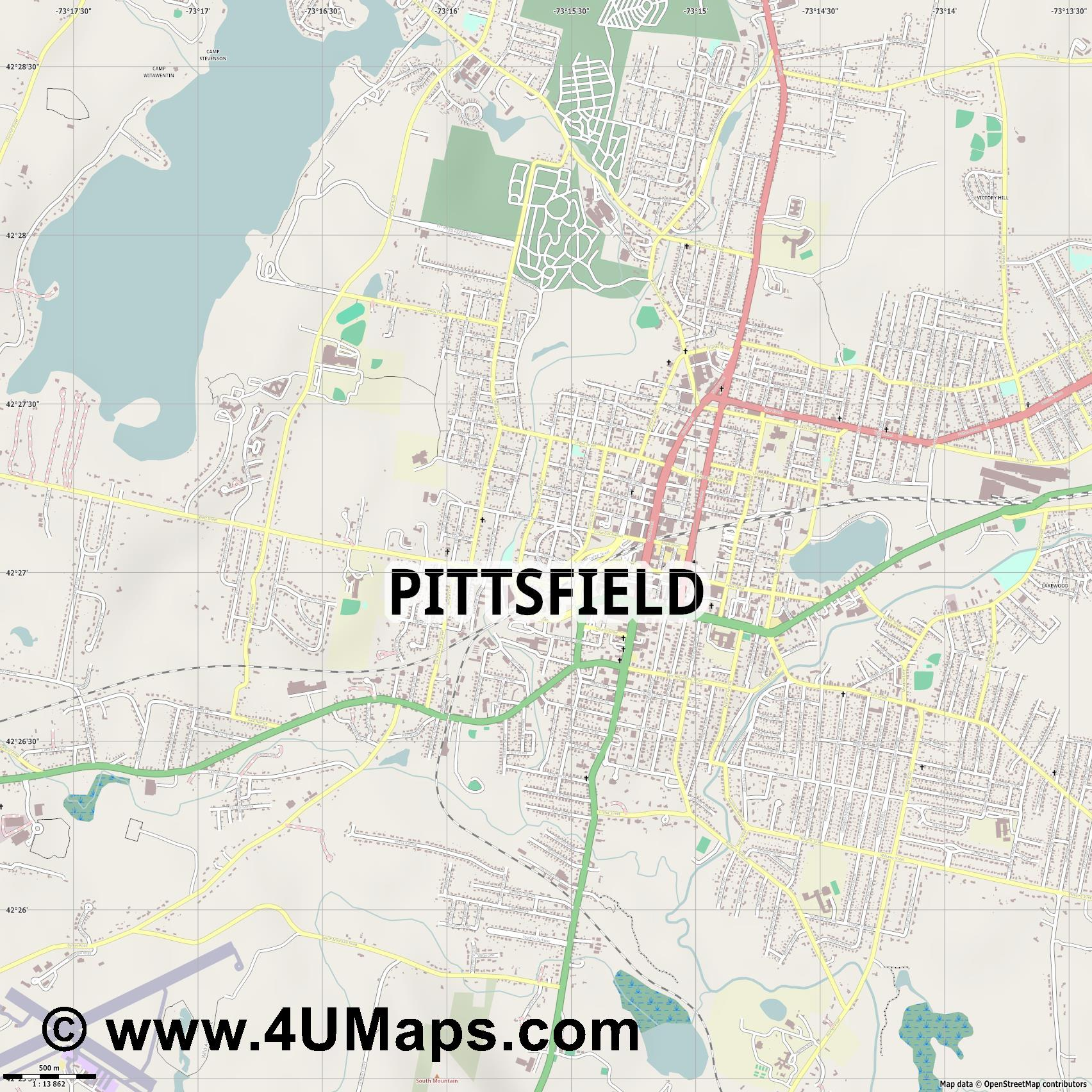 Pittsfield  jpg ultra high detail preview vector city map