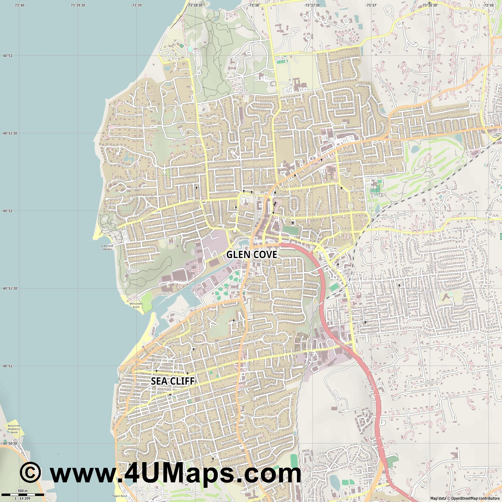 Glen Cove  jpg ultra high detail preview vector city map