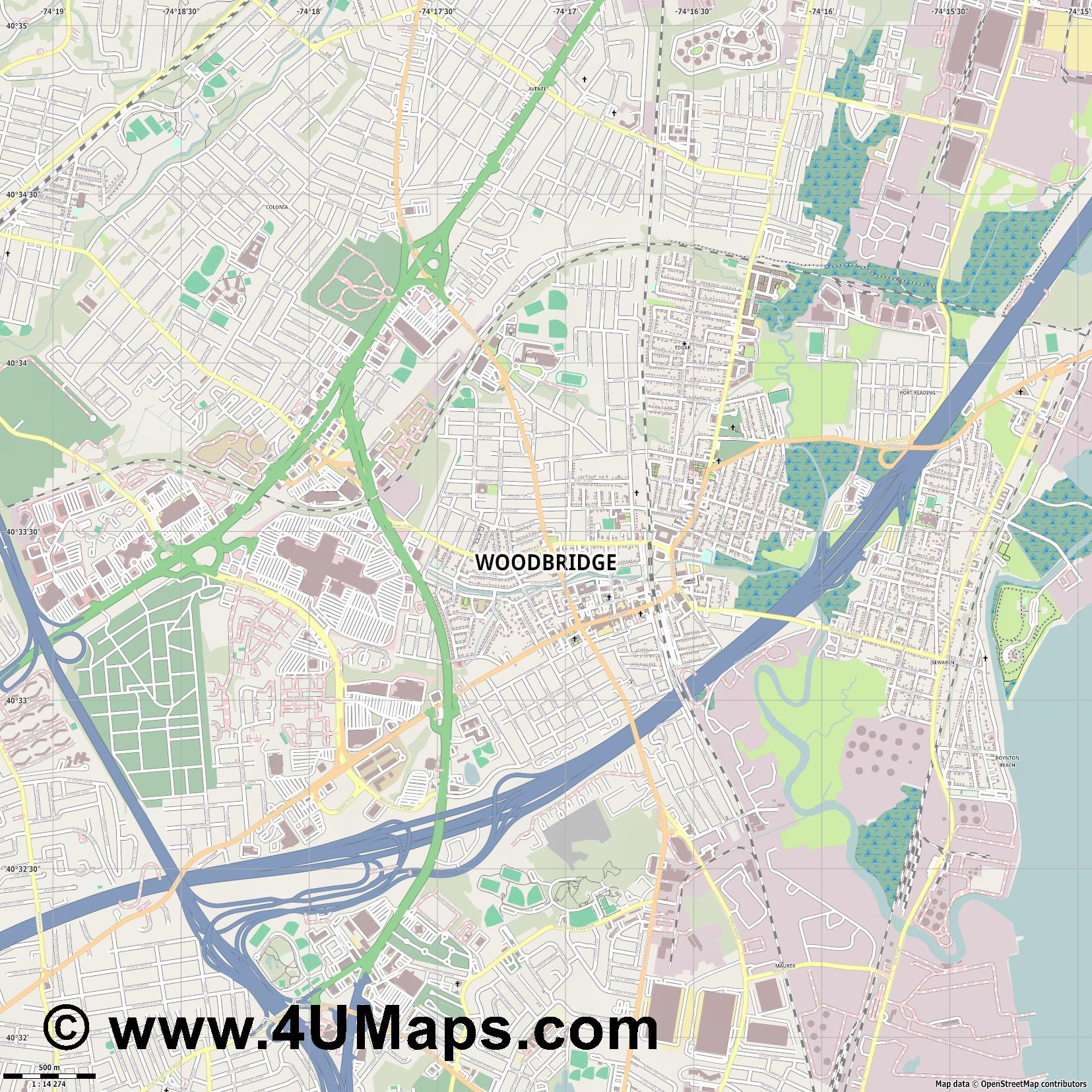 Woodbridge  jpg ultra high detail preview vector city map