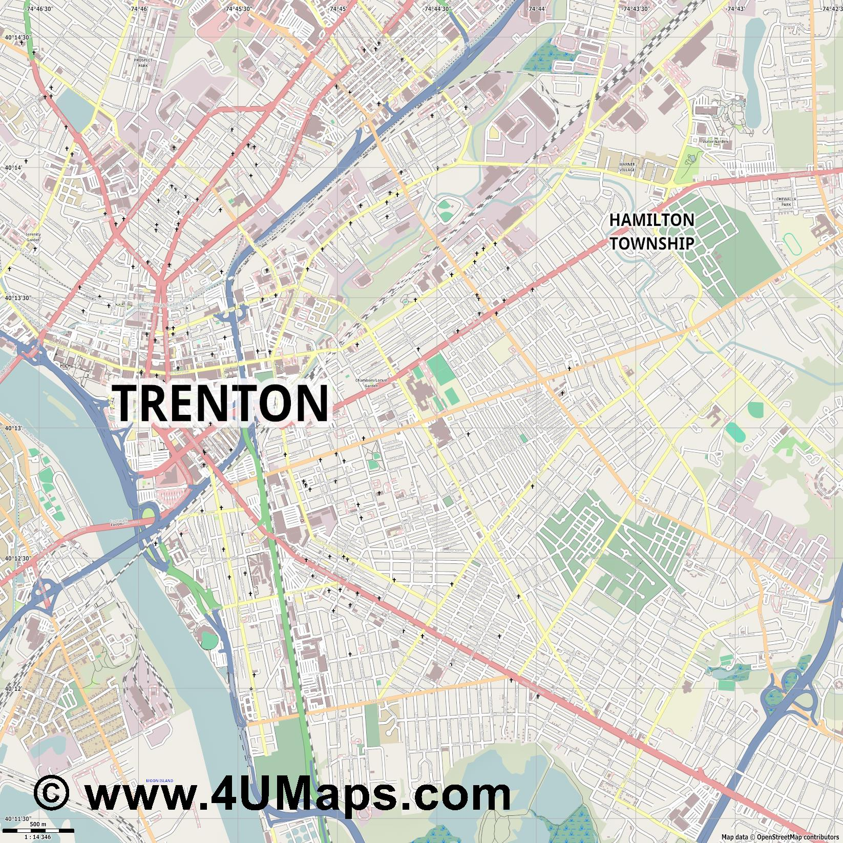 Trenton  jpg ultra high detail preview vector city map